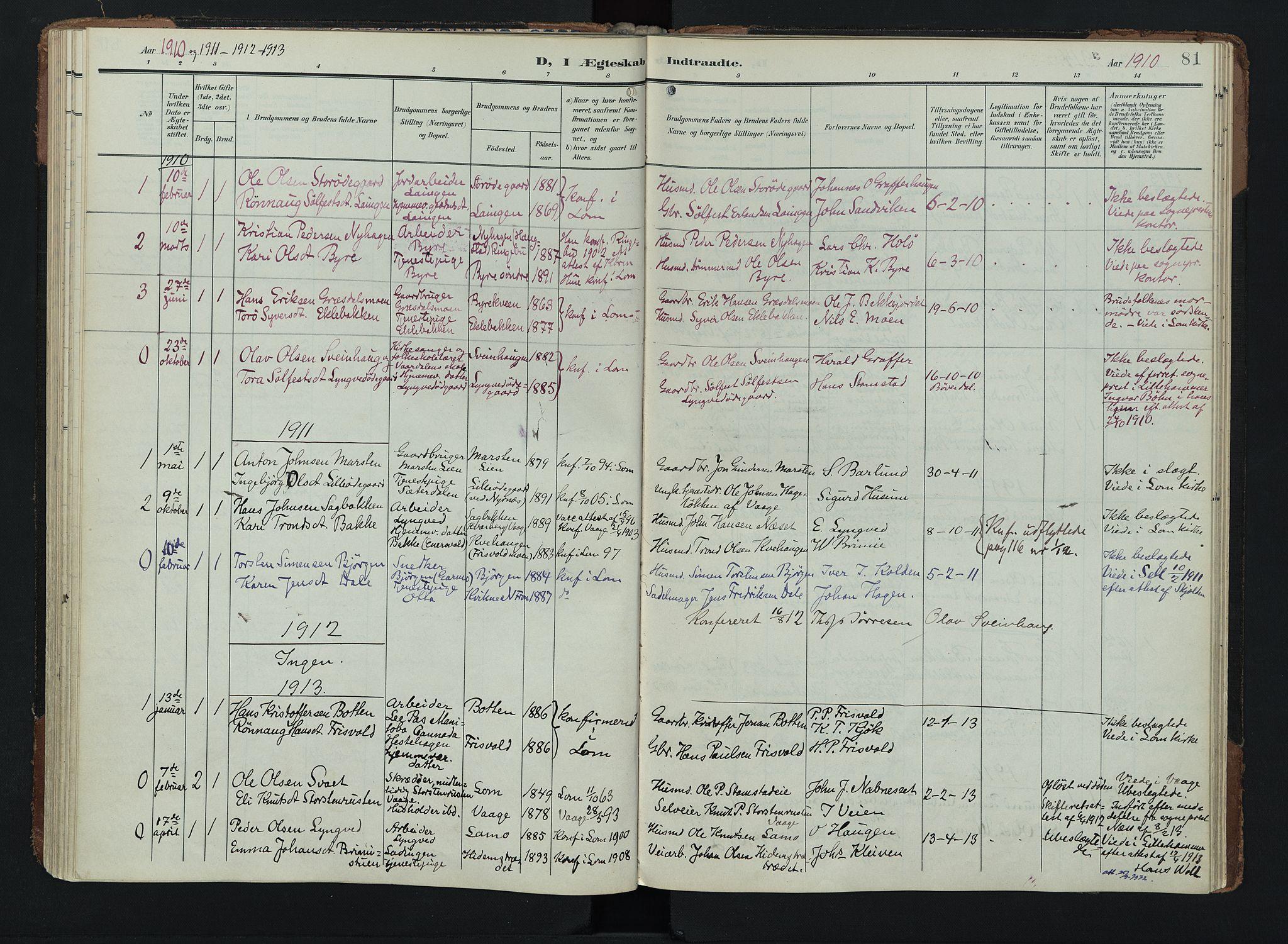 SAH, Lom prestekontor, K/L0011: Ministerialbok nr. 11, 1904-1928, s. 81