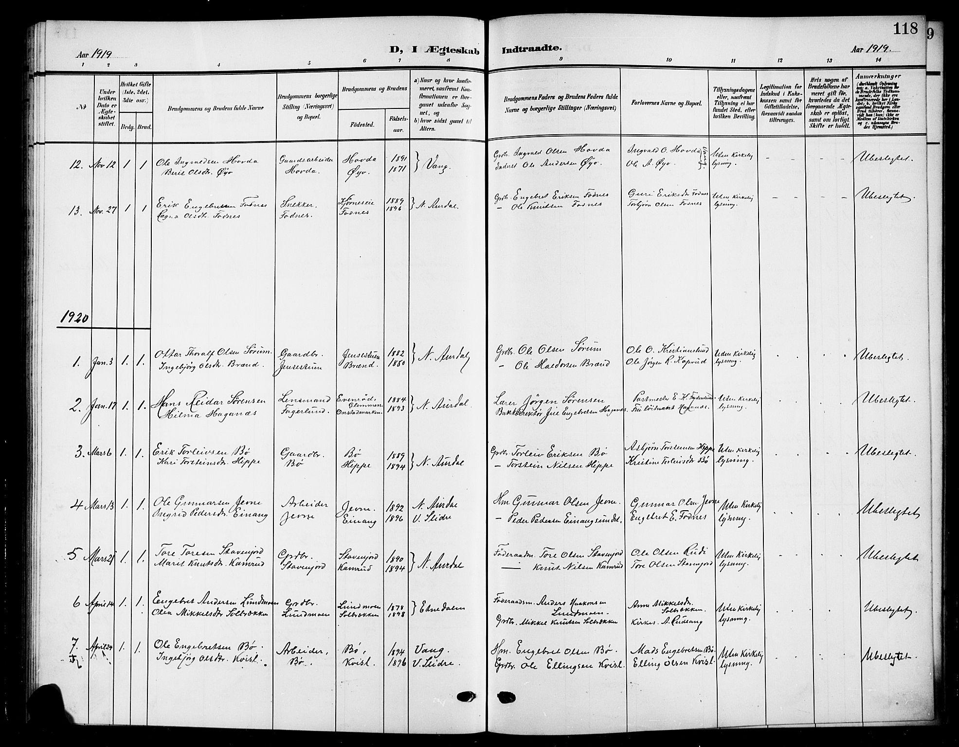 SAH, Nord-Aurdal prestekontor, Klokkerbok nr. 12, 1907-1920, s. 118