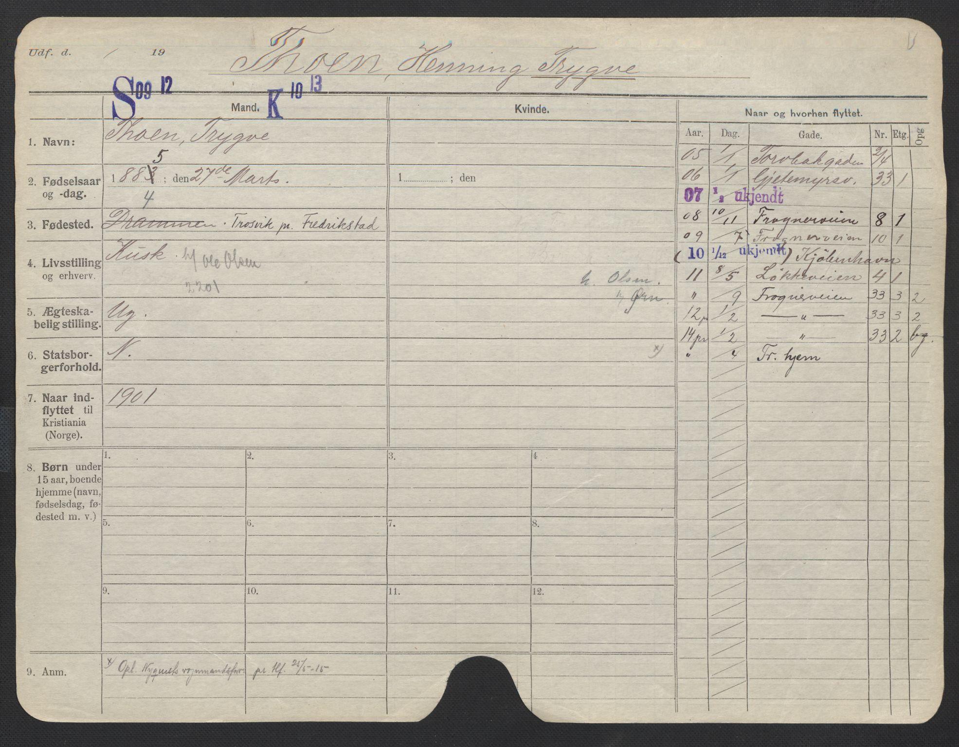 SAO, Oslo folkeregister, Registerkort, F/Fa/Fac/L0011: Menn, 1906-1914, s. 176a
