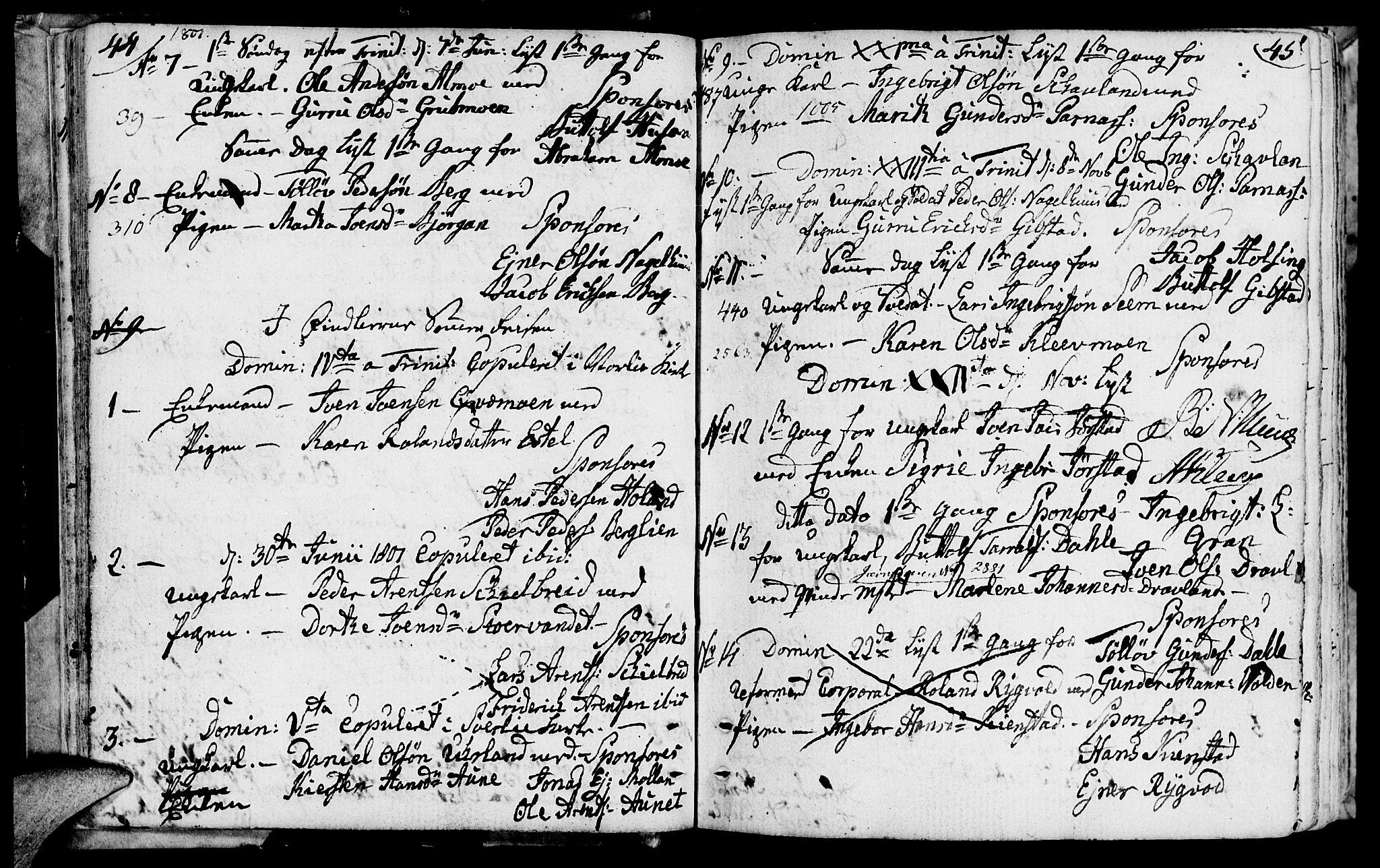 SAT, Ministerialprotokoller, klokkerbøker og fødselsregistre - Nord-Trøndelag, 749/L0468: Ministerialbok nr. 749A02, 1787-1817, s. 44-45