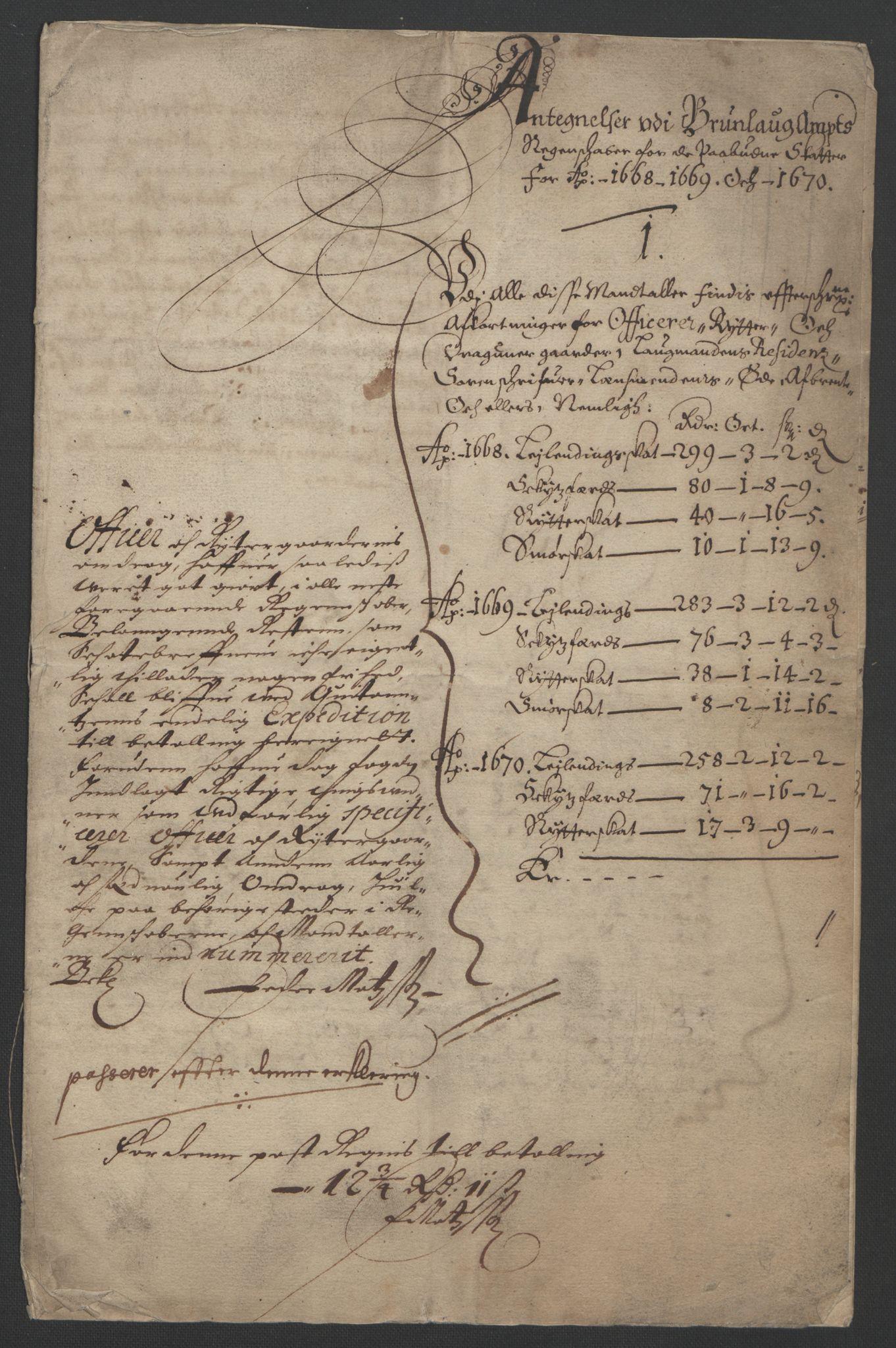 RA, Rentekammeret inntil 1814, Reviderte regnskaper, Fogderegnskap, R33/L1965: Fogderegnskap Larvik grevskap, 1669-1670, s. 253