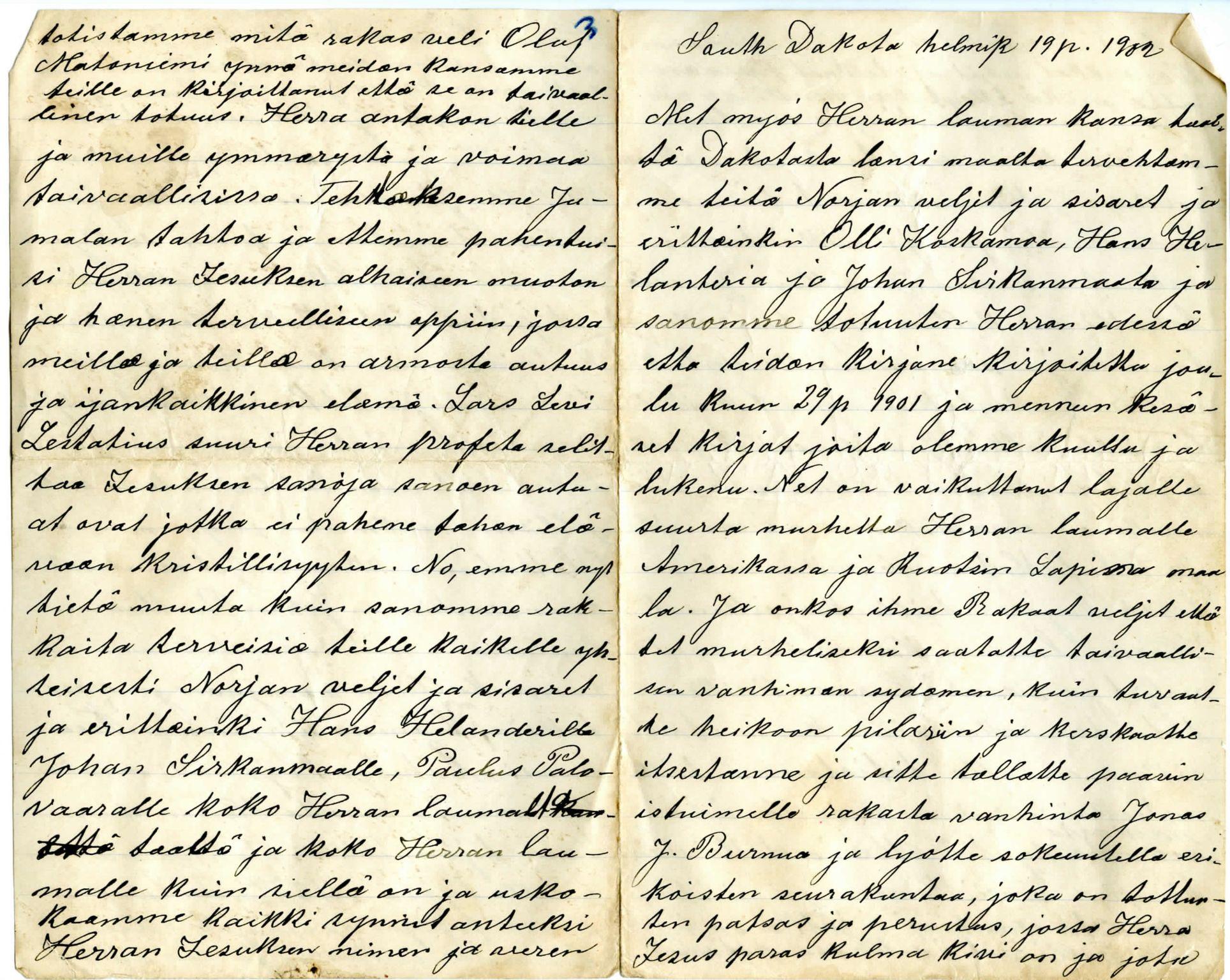 FMFB, Elise Balos brevsamling, F/Fb/L0003: To predikantbrev fra Sør Dakota, 1902