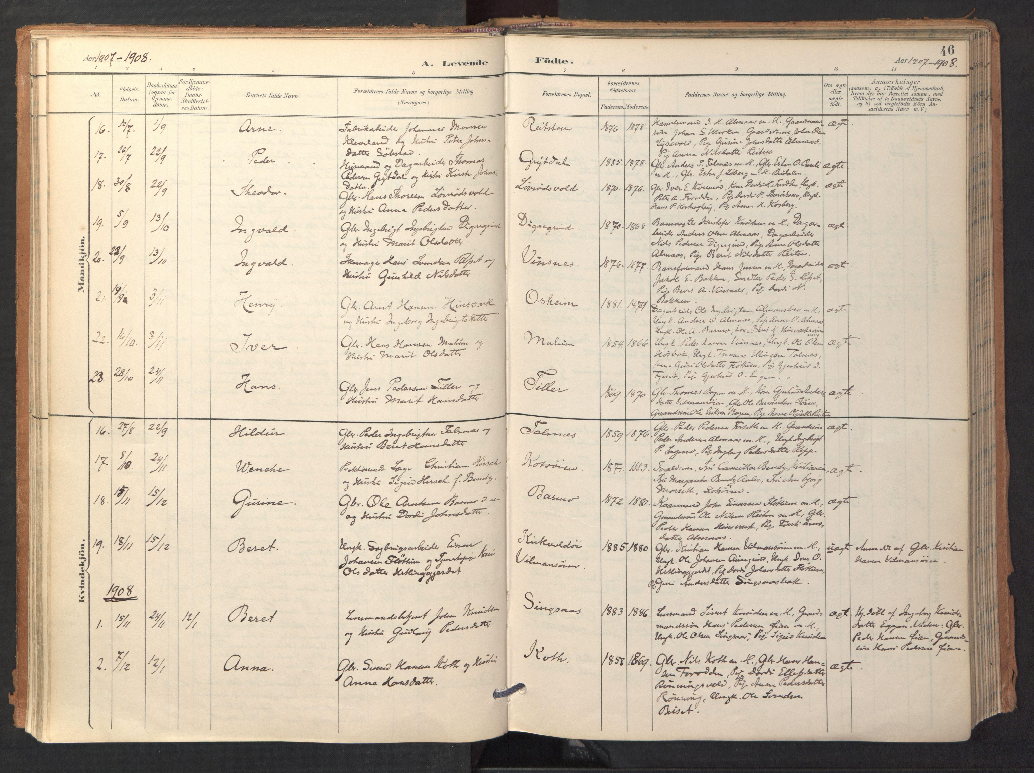 SAT, Ministerialprotokoller, klokkerbøker og fødselsregistre - Sør-Trøndelag, 688/L1025: Ministerialbok nr. 688A02, 1891-1909, s. 46