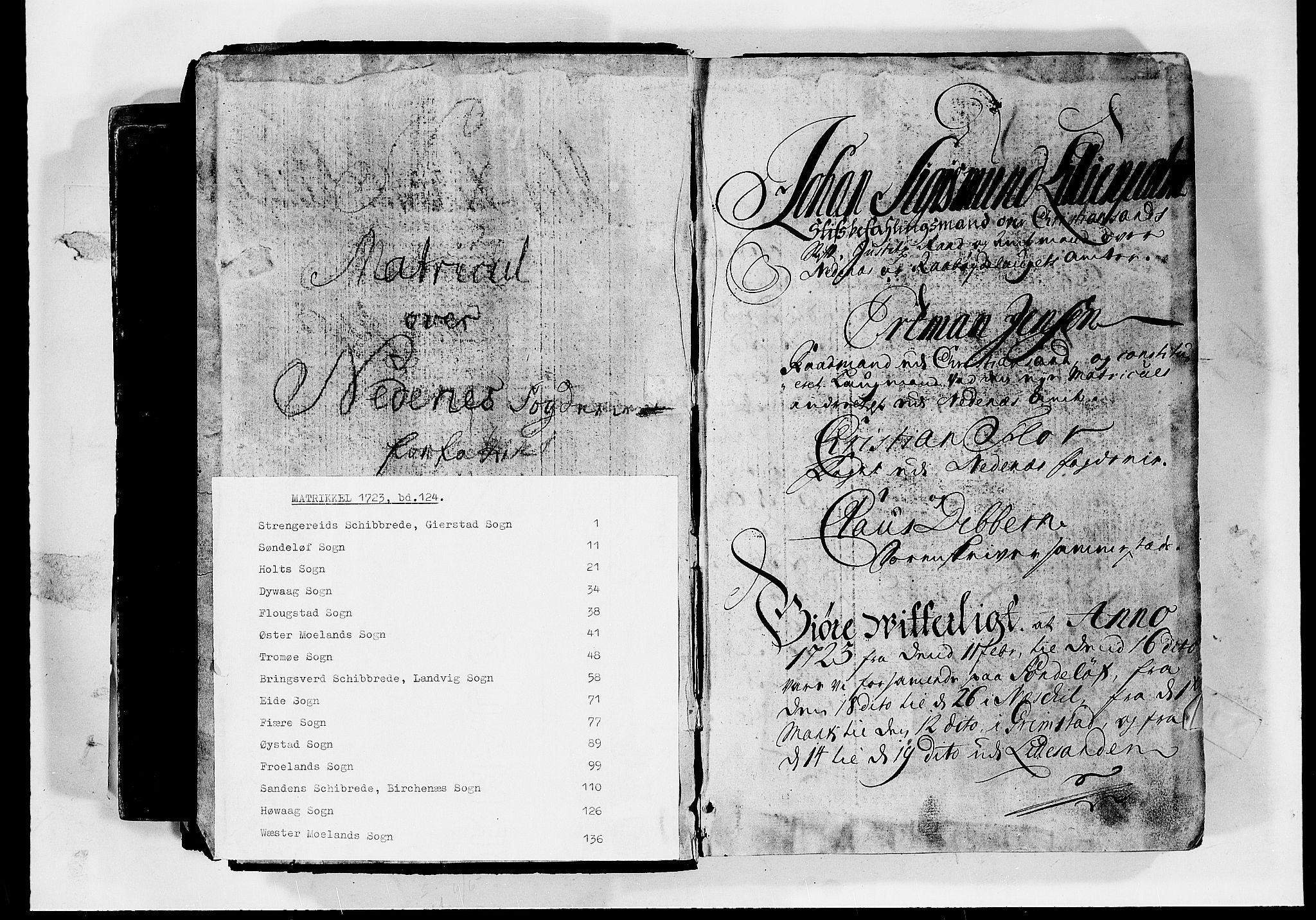RA, Rentekammeret inntil 1814, Realistisk ordnet avdeling, N/Nb/Nbf/L0124: Nedenes matrikkelprotokoll, 1723, s. upaginert