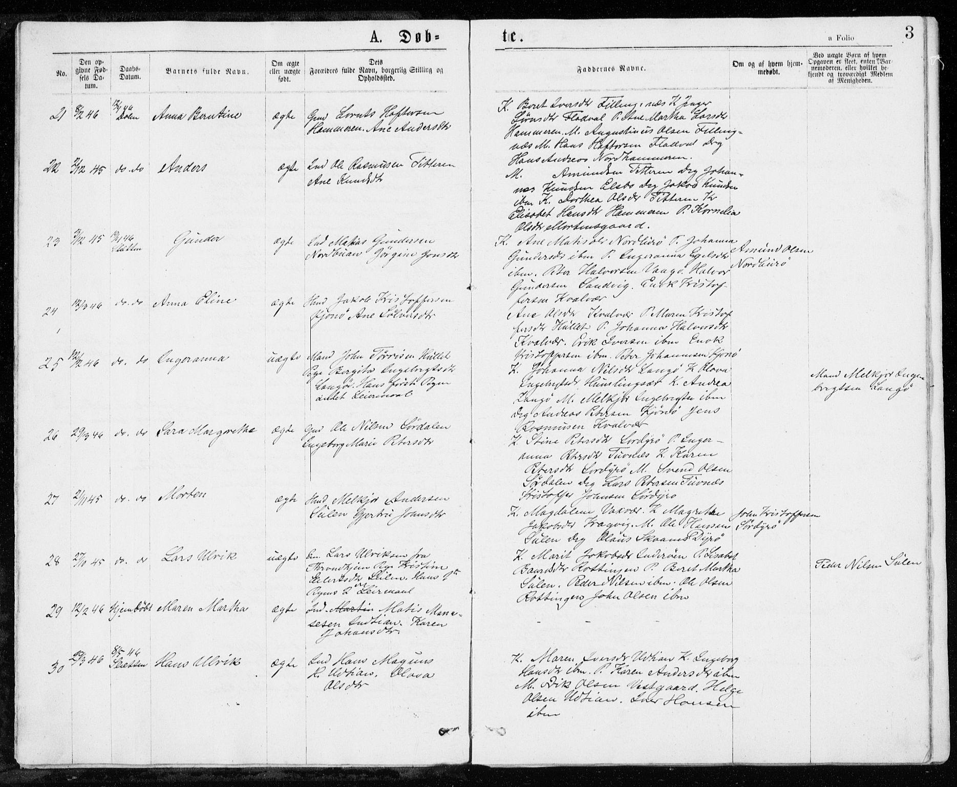 SAT, Ministerialprotokoller, klokkerbøker og fødselsregistre - Sør-Trøndelag, 640/L0576: Ministerialbok nr. 640A01, 1846-1876, s. 3
