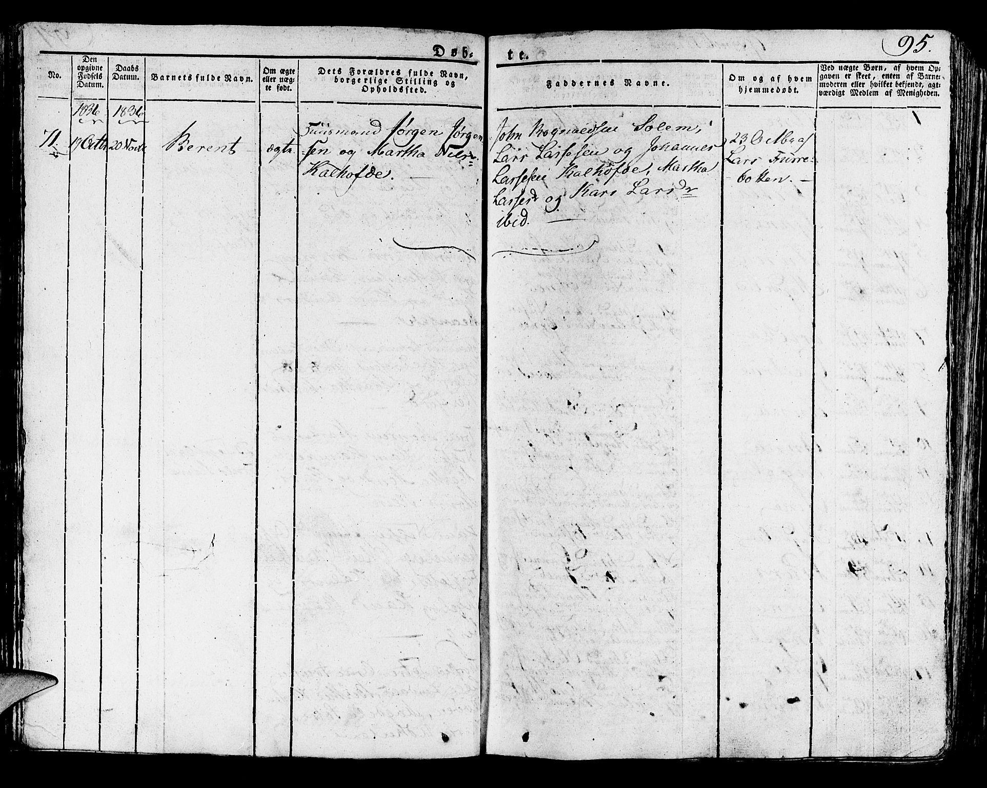 SAB, Lindås Sokneprestembete, H/Haa: Ministerialbok nr. A 8, 1823-1836, s. 95