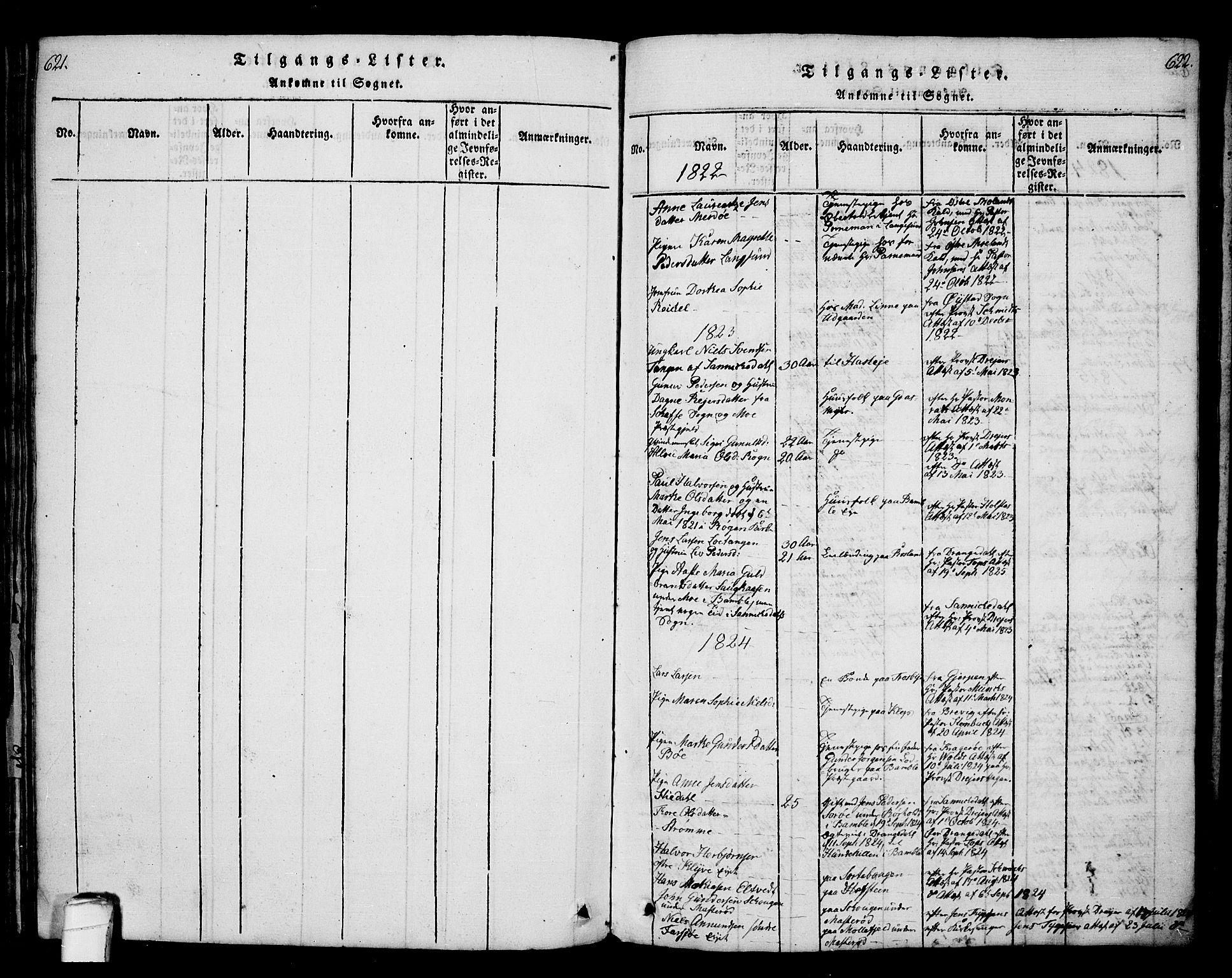 SAKO, Bamble kirkebøker, G/Ga/L0005: Klokkerbok nr. I 5, 1814-1855, s. 621-622