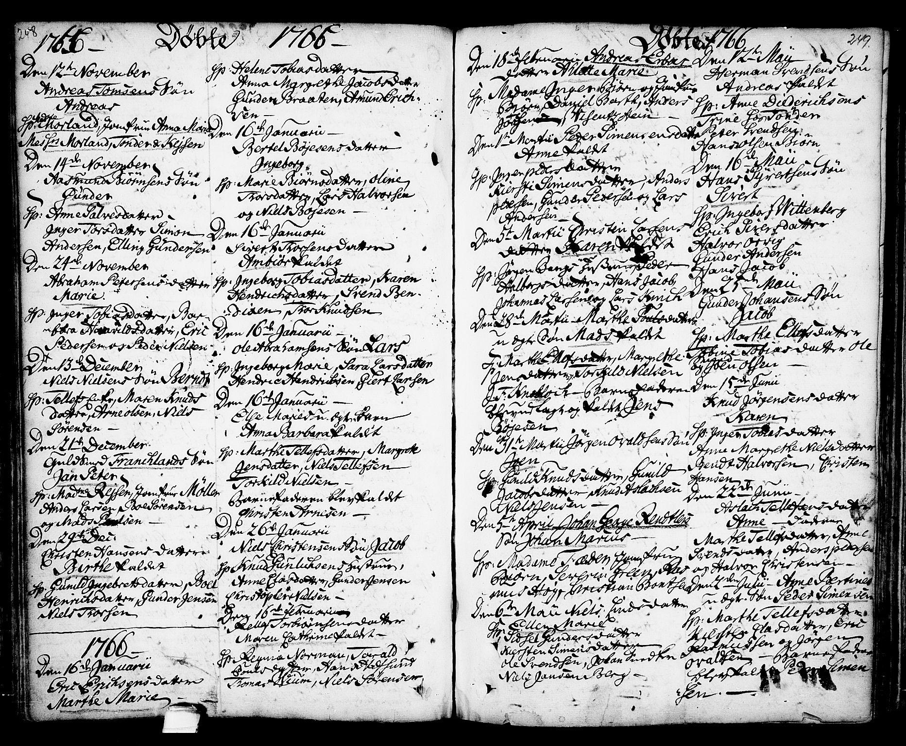 SAKO, Kragerø kirkebøker, F/Fa/L0001: Ministerialbok nr. 1, 1702-1766, s. 248-249