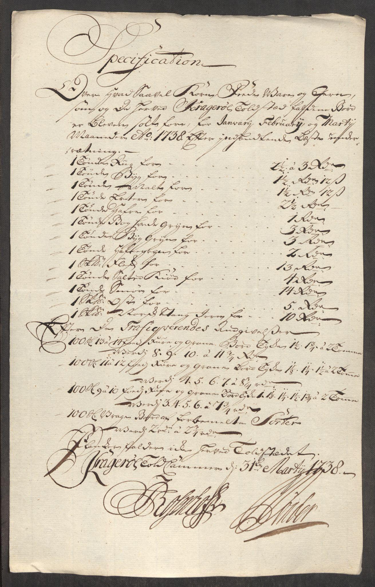 RA, Rentekammeret inntil 1814, Realistisk ordnet avdeling, Oe/L0001: [Ø1]: Priskuranter, 1712-1739, s. 803