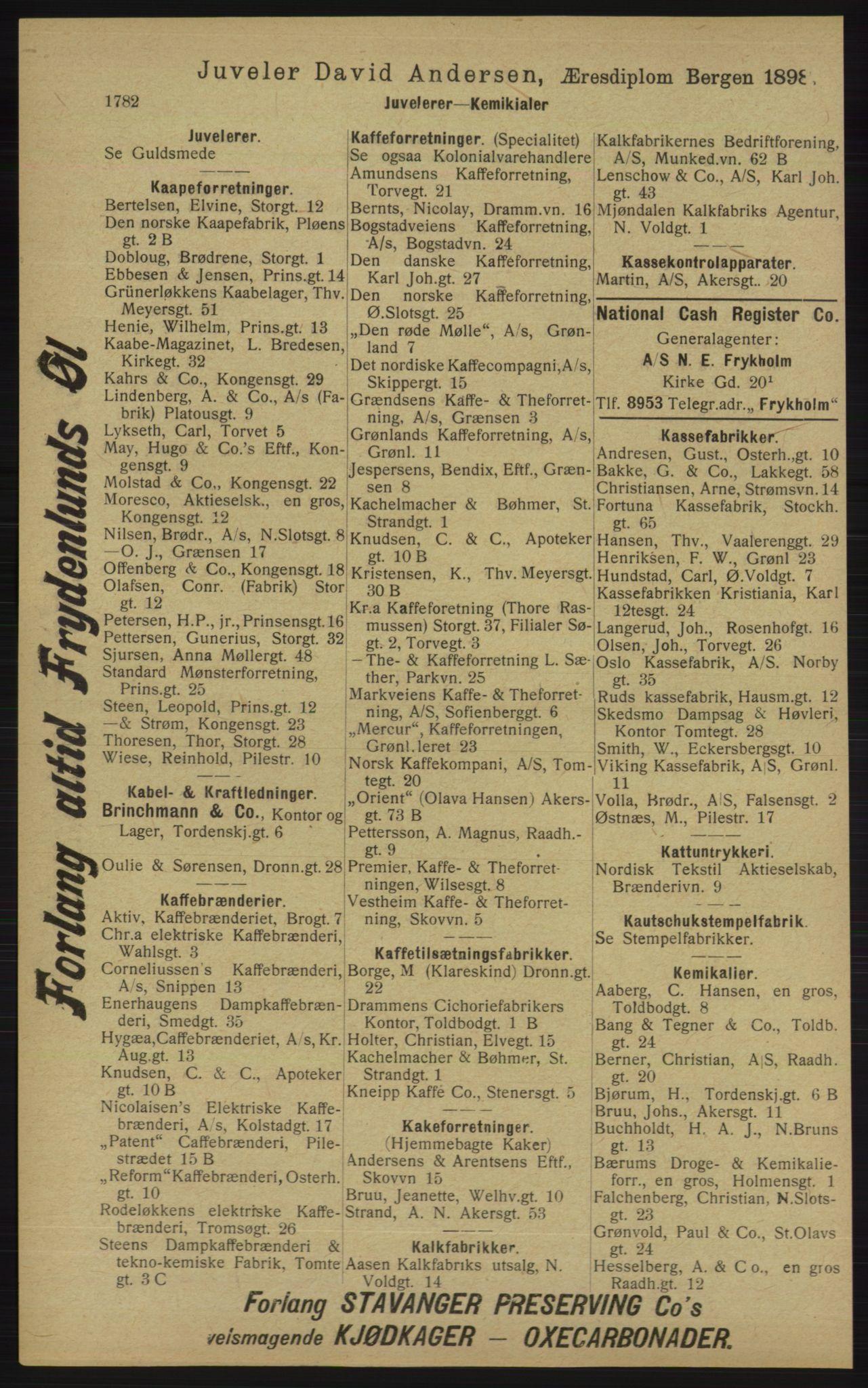 RA, Kristiania adressebok (publikasjon)*, 1913, s. 1782