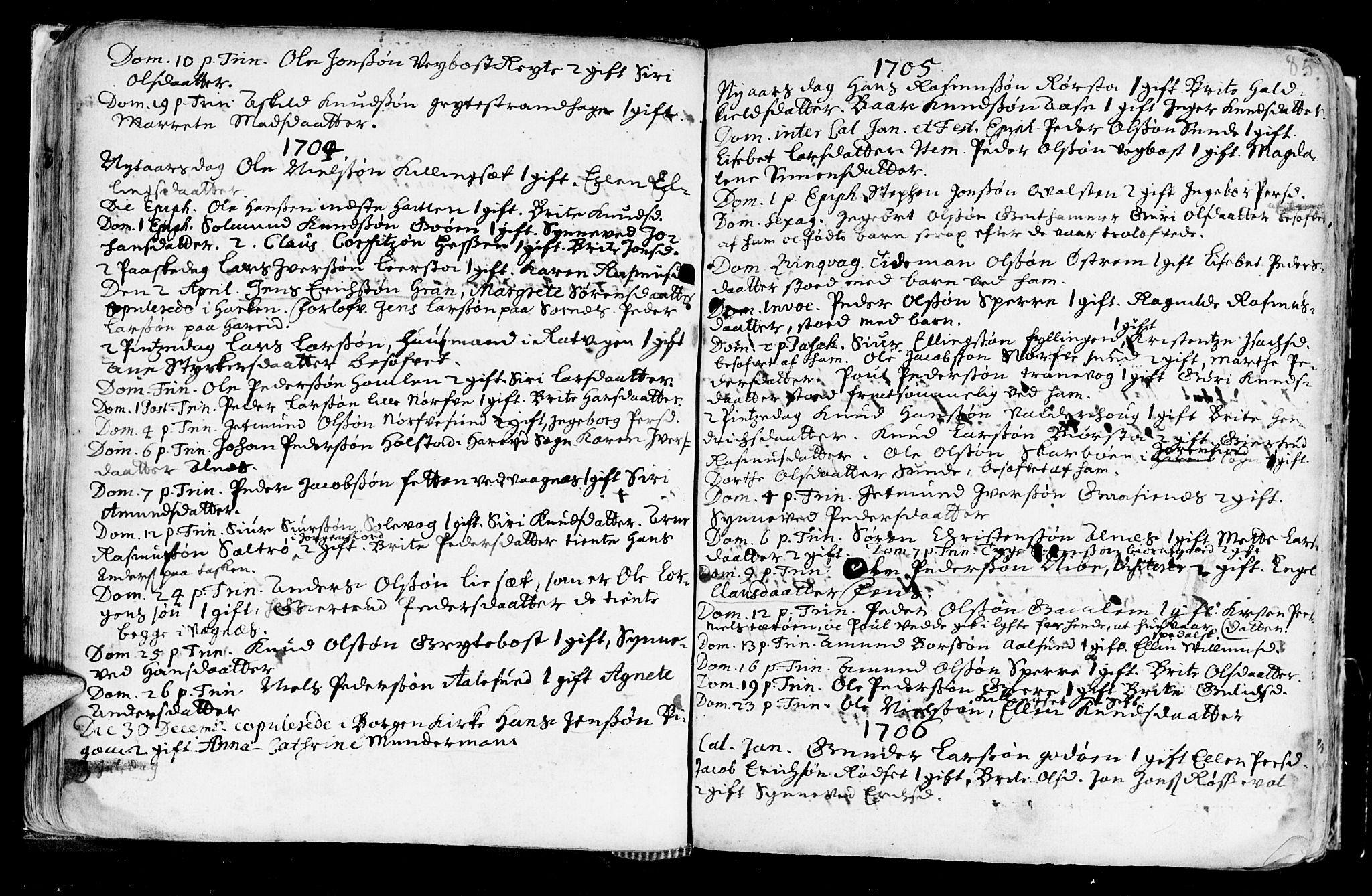 SAT, Ministerialprotokoller, klokkerbøker og fødselsregistre - Møre og Romsdal, 528/L0390: Ministerialbok nr. 528A01, 1698-1739, s. 84-85