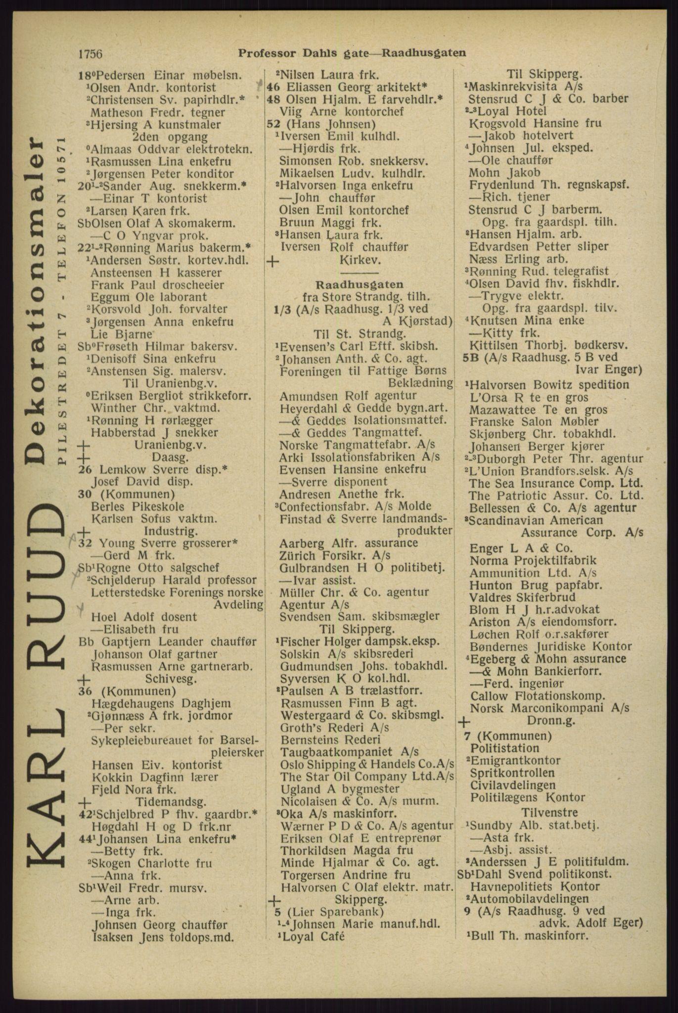RA, Oslo adressebok (publikasjon)*, 1929, s. 1756