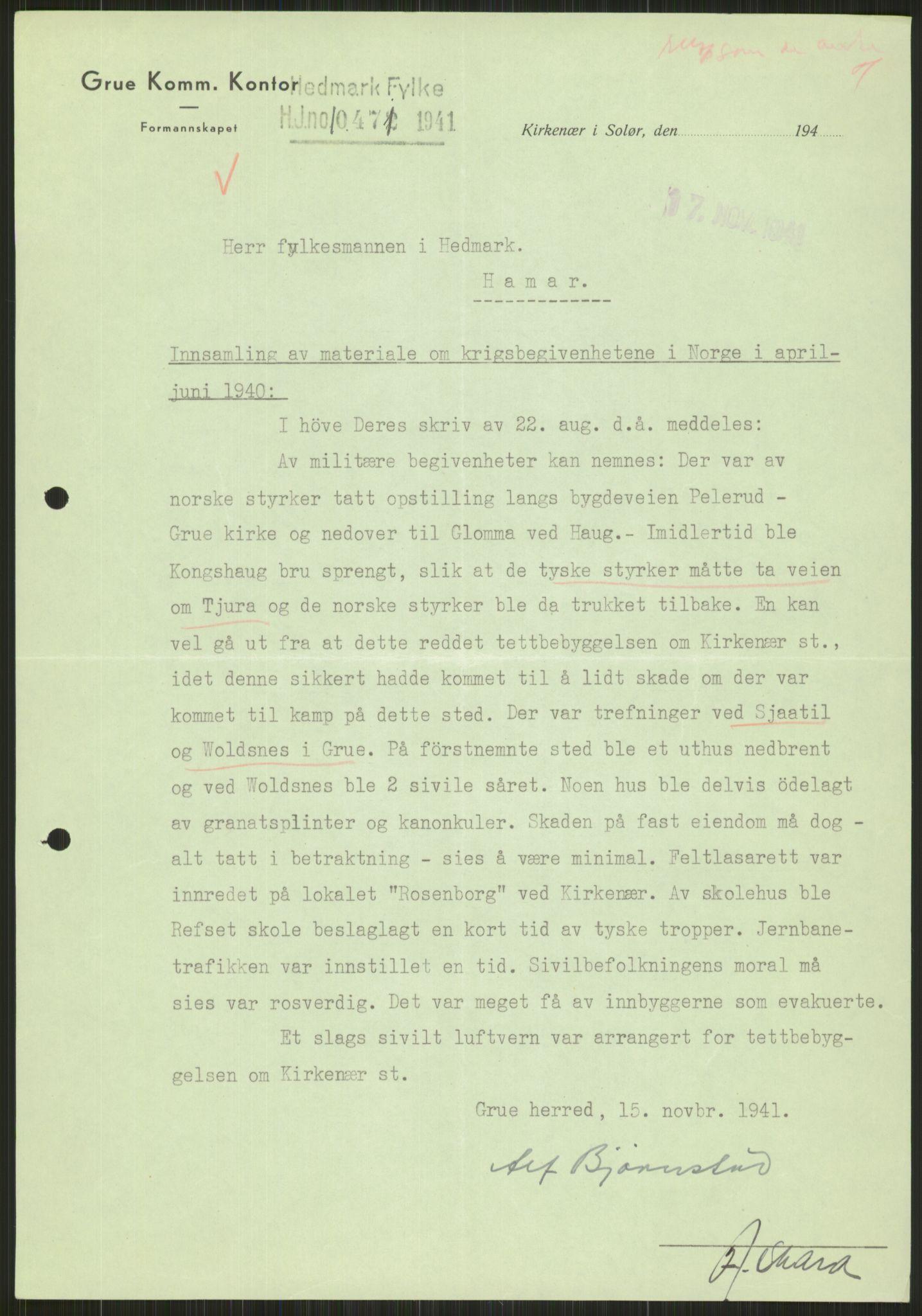 RA, Forsvaret, Forsvarets krigshistoriske avdeling, Y/Ya/L0013: II-C-11-31 - Fylkesmenn.  Rapporter om krigsbegivenhetene 1940., 1940, s. 888