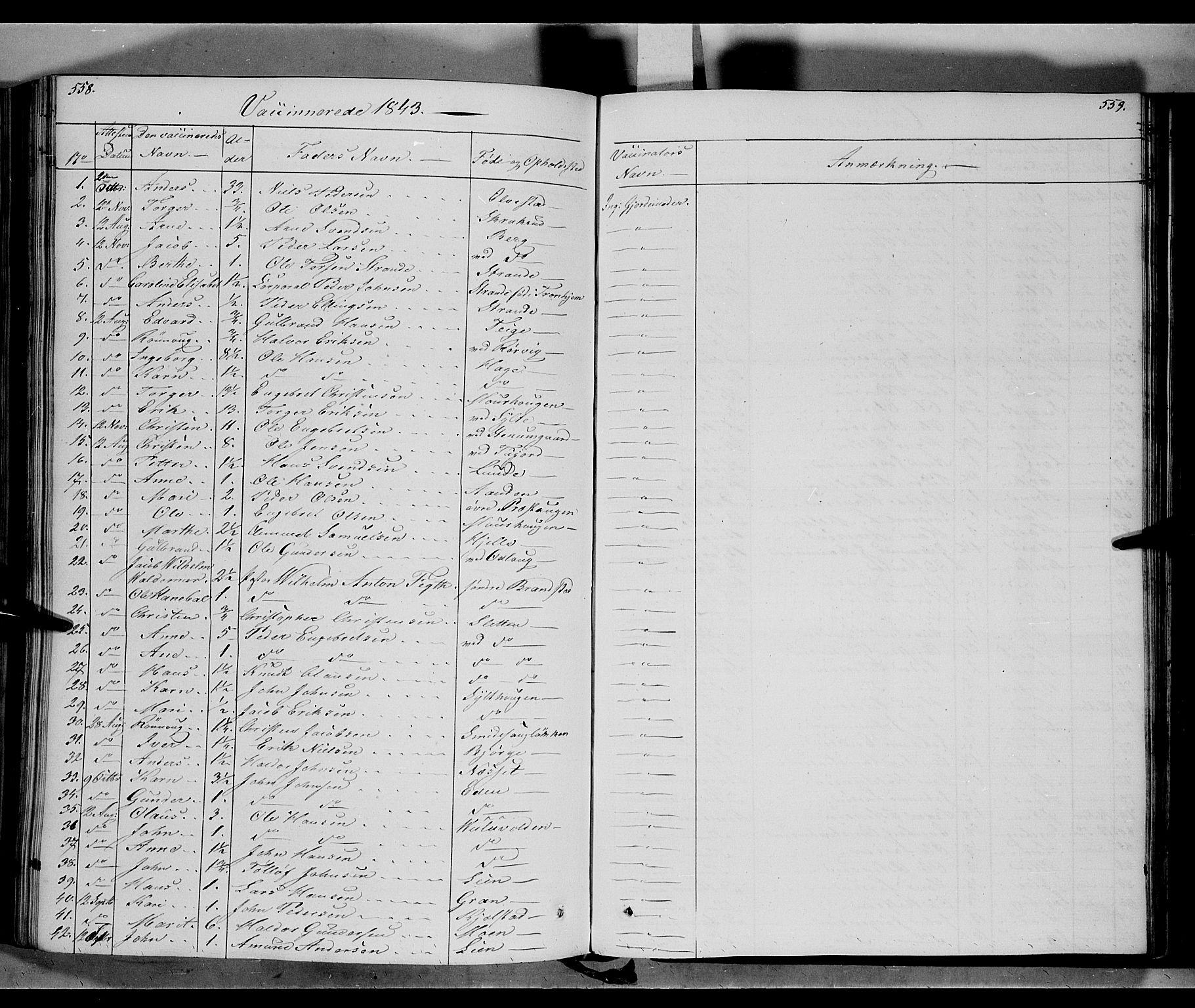 SAH, Ringebu prestekontor, Ministerialbok nr. 5, 1839-1848, s. 558-559