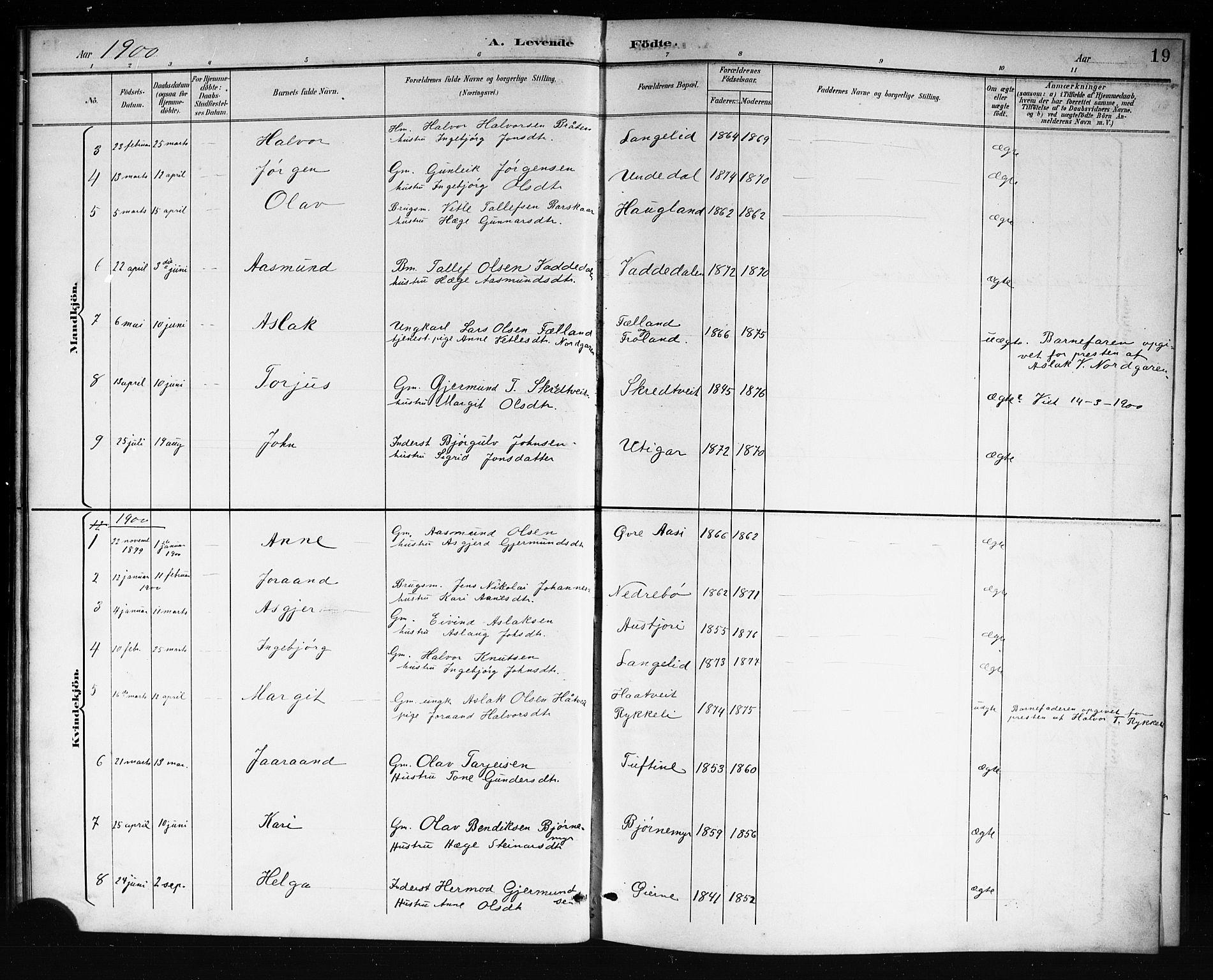 SAKO, Mo kirkebøker, G/Ga/L0002: Klokkerbok nr. I 2, 1892-1914, s. 19