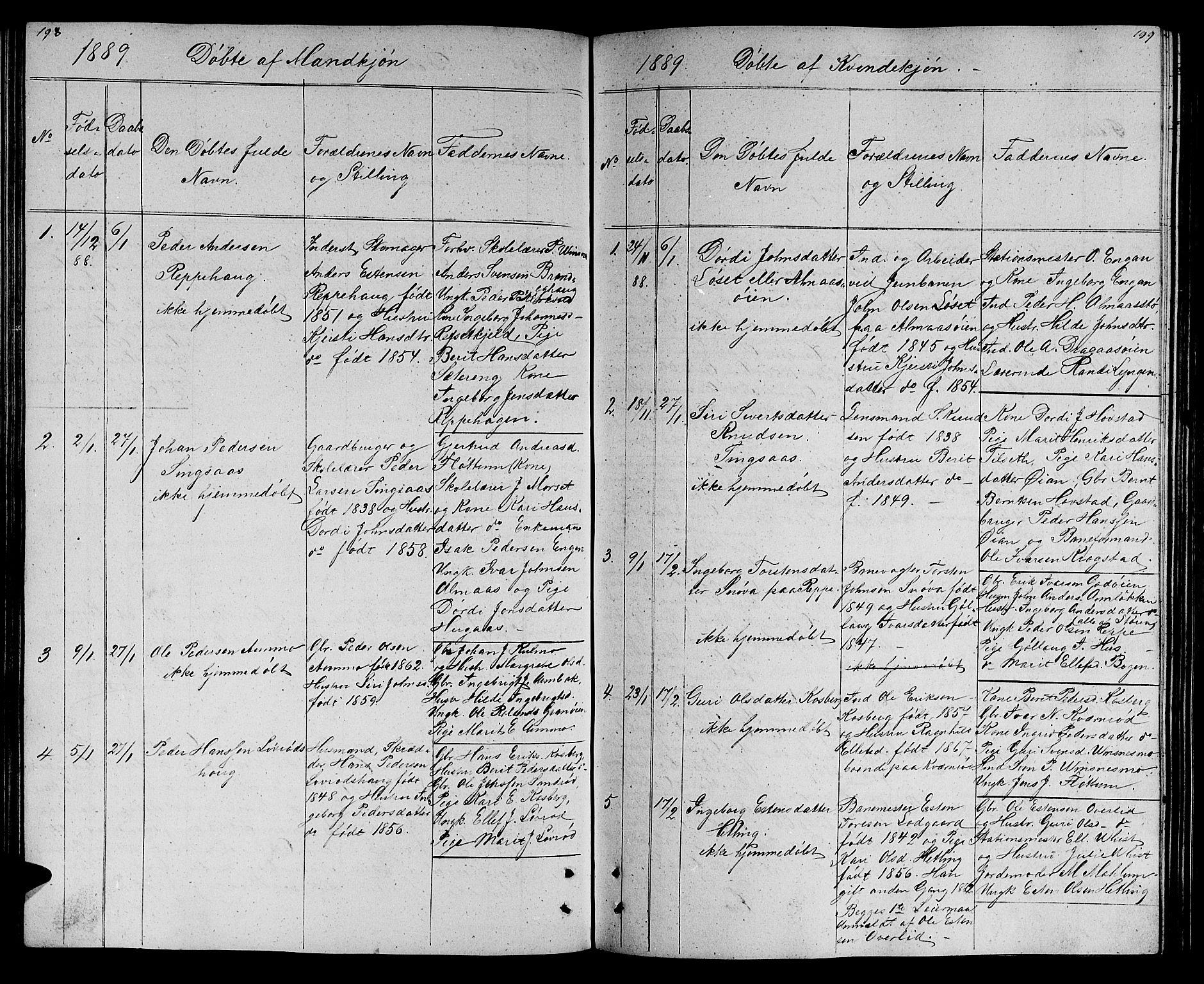 SAT, Ministerialprotokoller, klokkerbøker og fødselsregistre - Sør-Trøndelag, 688/L1027: Klokkerbok nr. 688C02, 1861-1889, s. 198-199