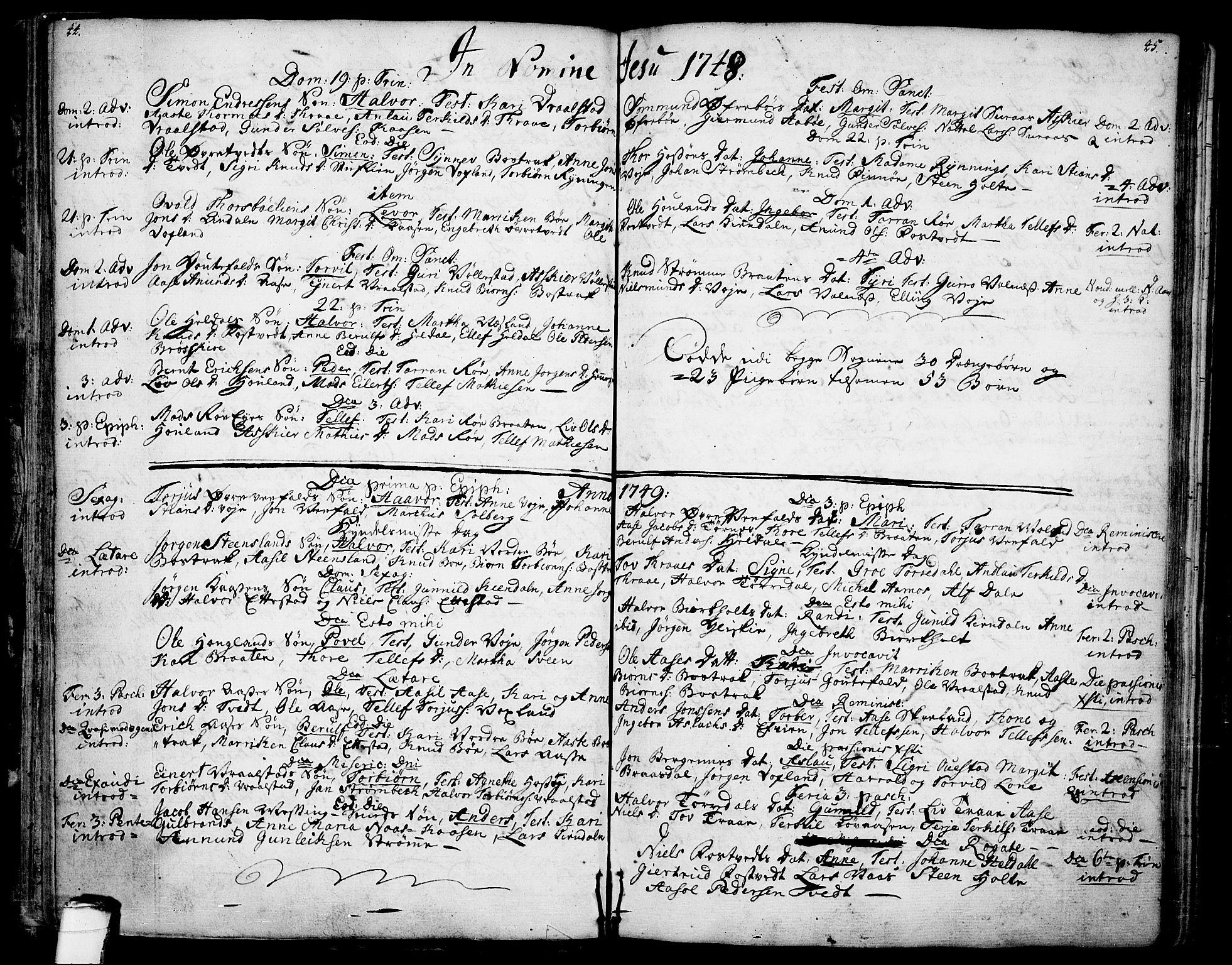 SAKO, Drangedal kirkebøker, F/Fa/L0001: Ministerialbok nr. 1, 1697-1767, s. 44-45