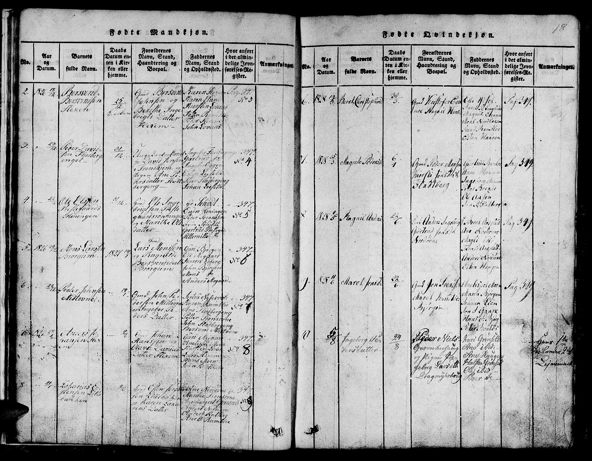 SAT, Ministerialprotokoller, klokkerbøker og fødselsregistre - Sør-Trøndelag, 685/L0976: Klokkerbok nr. 685C01, 1817-1878, s. 18