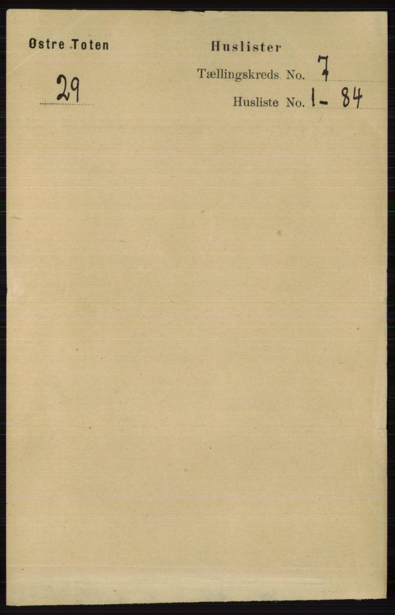 RA, Folketelling 1891 for 0528 Østre Toten herred, 1891, s. 4350