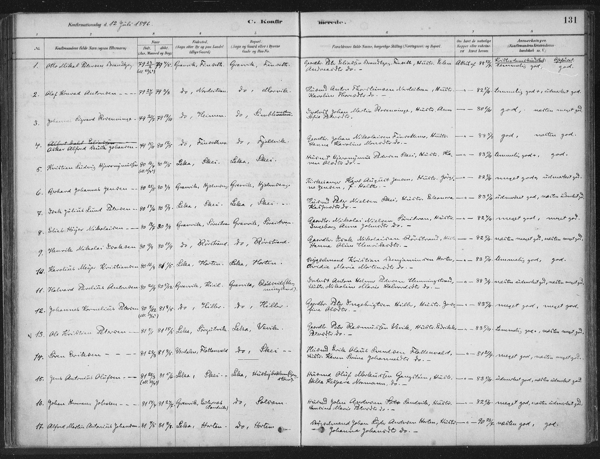 SAT, Ministerialprotokoller, klokkerbøker og fødselsregistre - Nord-Trøndelag, 788/L0697: Ministerialbok nr. 788A04, 1878-1902, s. 131
