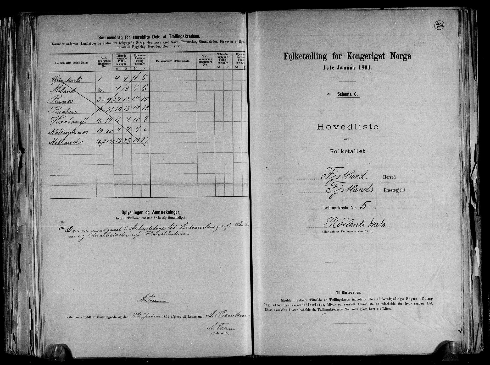RA, Folketelling 1891 for 1036 Fjotland herred, 1891, s. 13