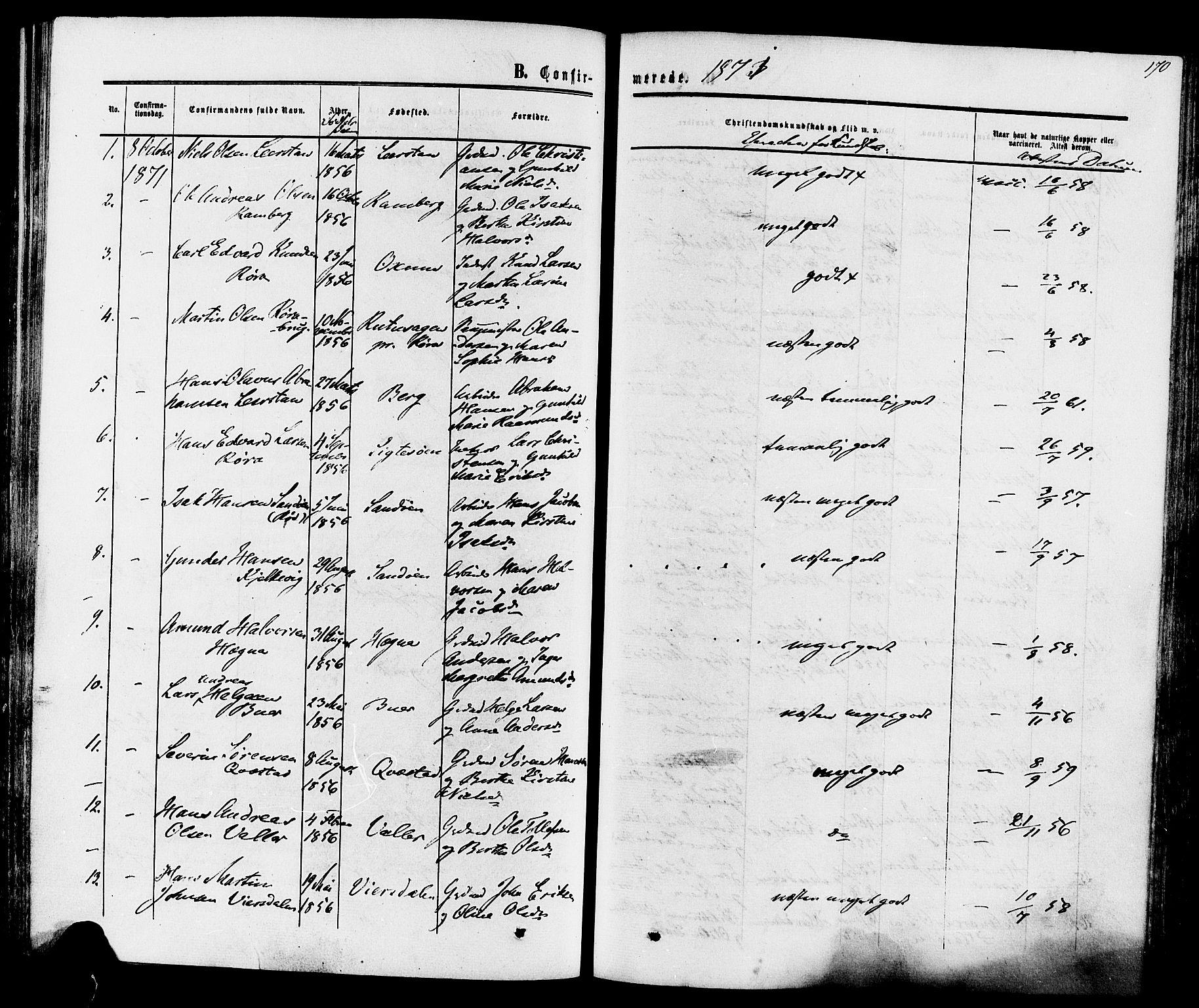 SAKO, Eidanger kirkebøker, F/Fa/L0010: Ministerialbok nr. 10, 1859-1874, s. 170
