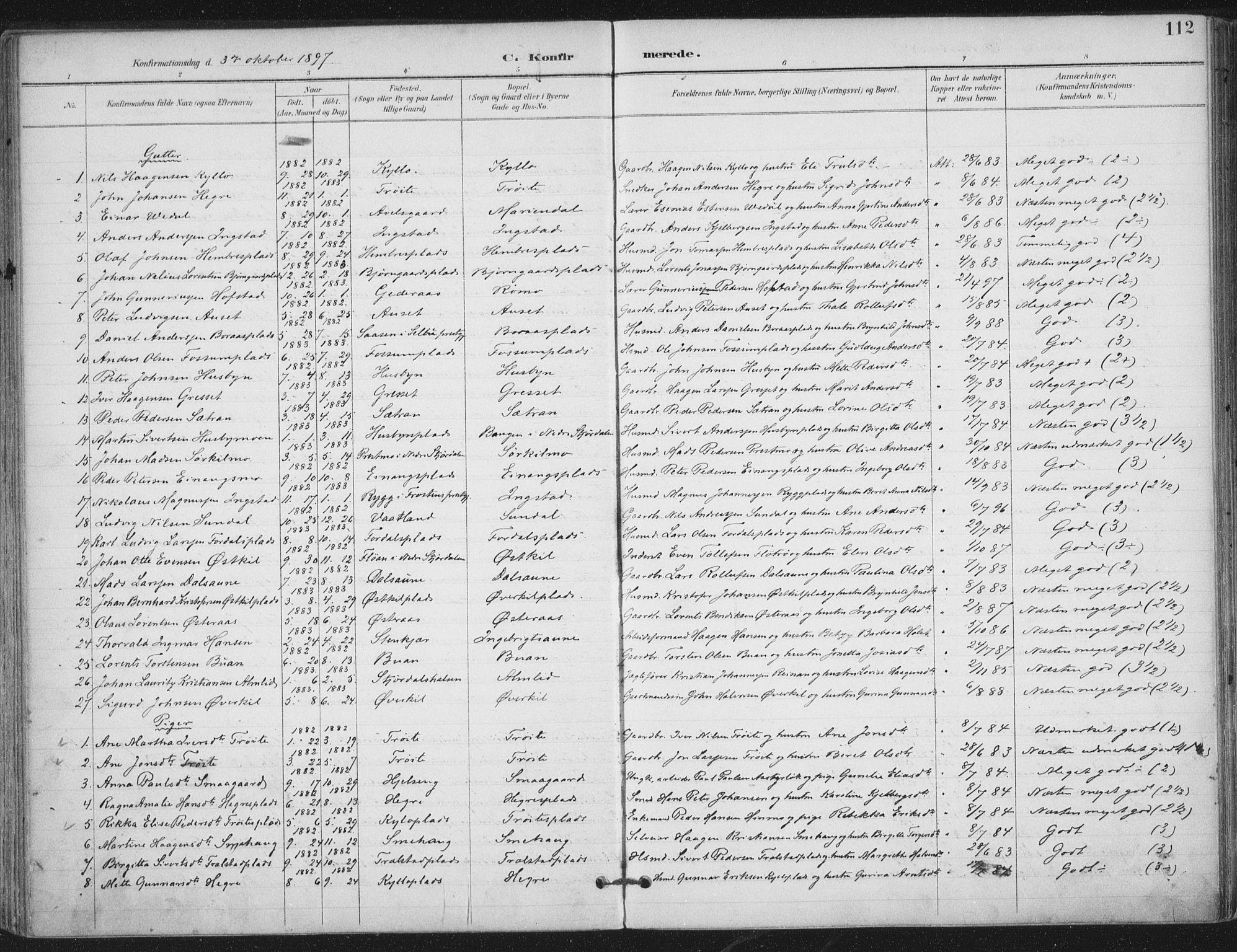 SAT, Ministerialprotokoller, klokkerbøker og fødselsregistre - Nord-Trøndelag, 703/L0031: Ministerialbok nr. 703A04, 1893-1914, s. 112