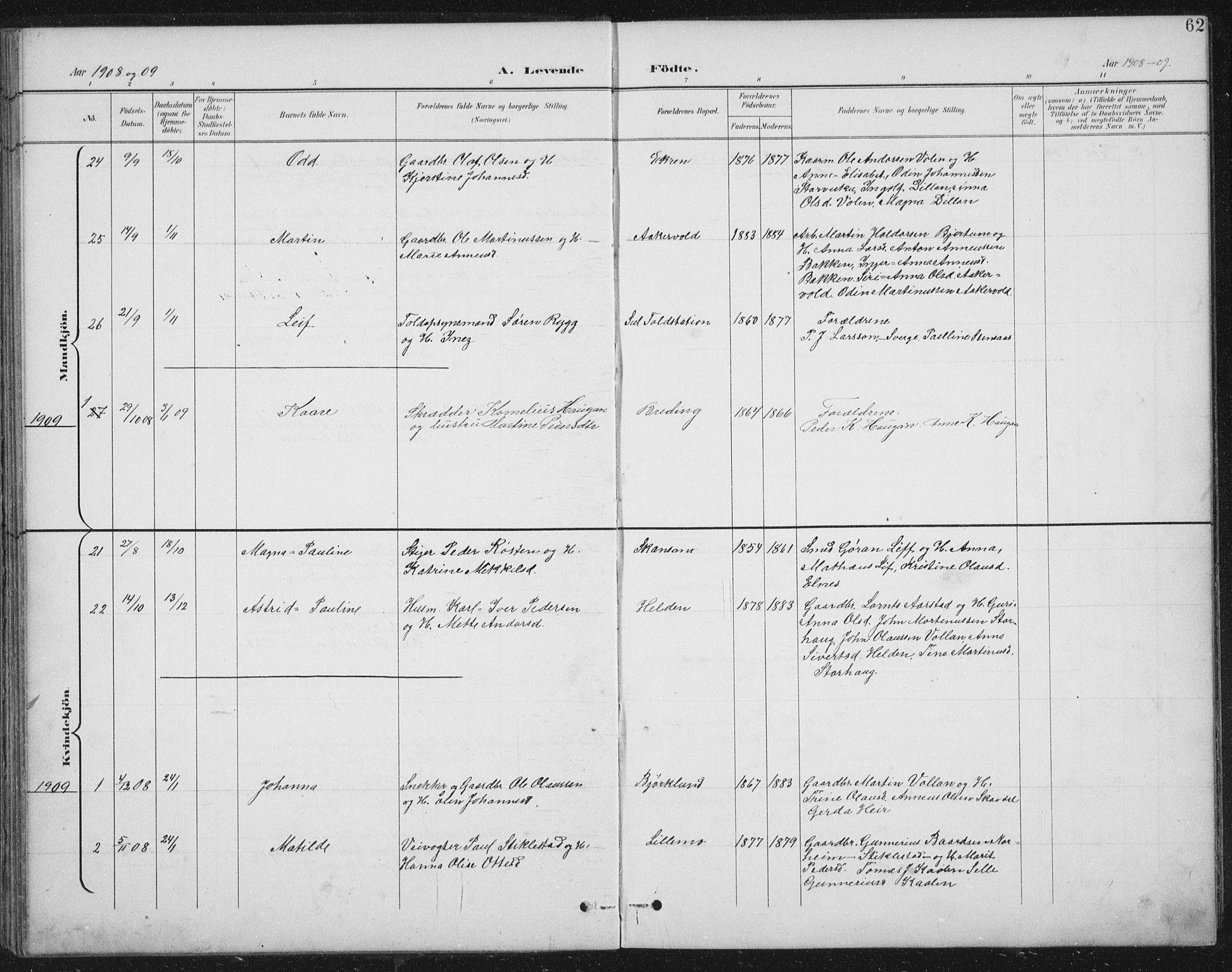 SAT, Ministerialprotokoller, klokkerbøker og fødselsregistre - Nord-Trøndelag, 724/L0269: Klokkerbok nr. 724C05, 1899-1920, s. 62