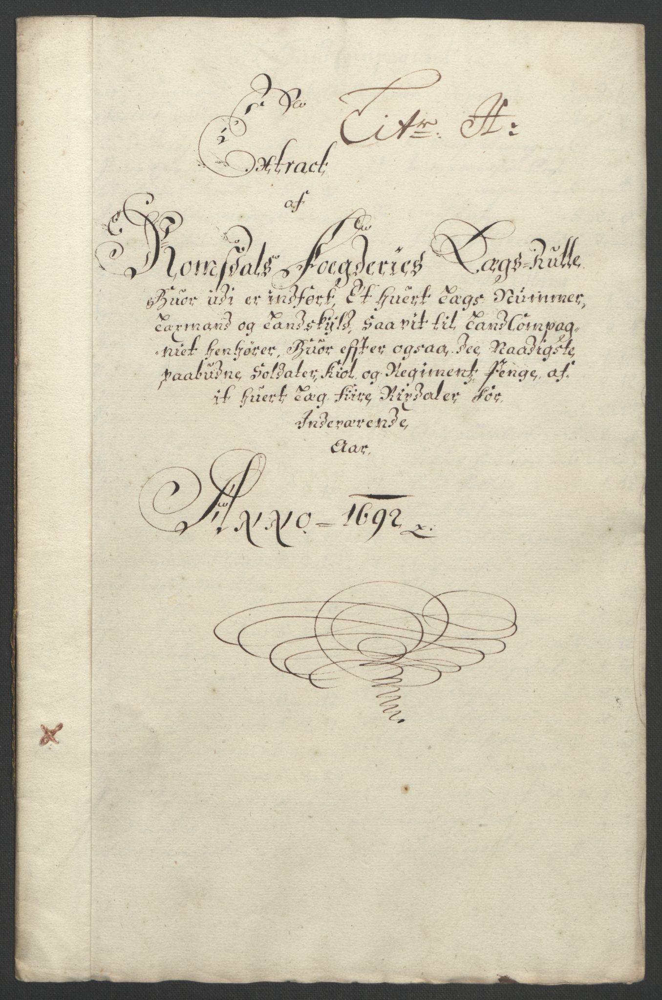 RA, Rentekammeret inntil 1814, Reviderte regnskaper, Fogderegnskap, R55/L3650: Fogderegnskap Romsdal, 1692, s. 103