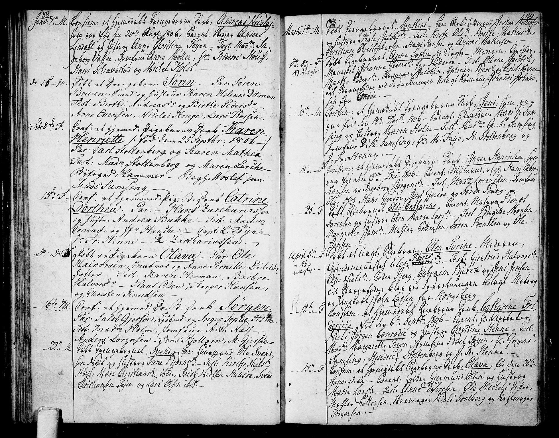 SAKO, Tønsberg kirkebøker, F/Fa/L0003: Ministerialbok nr. I 3, 1797-1814, s. 88-89
