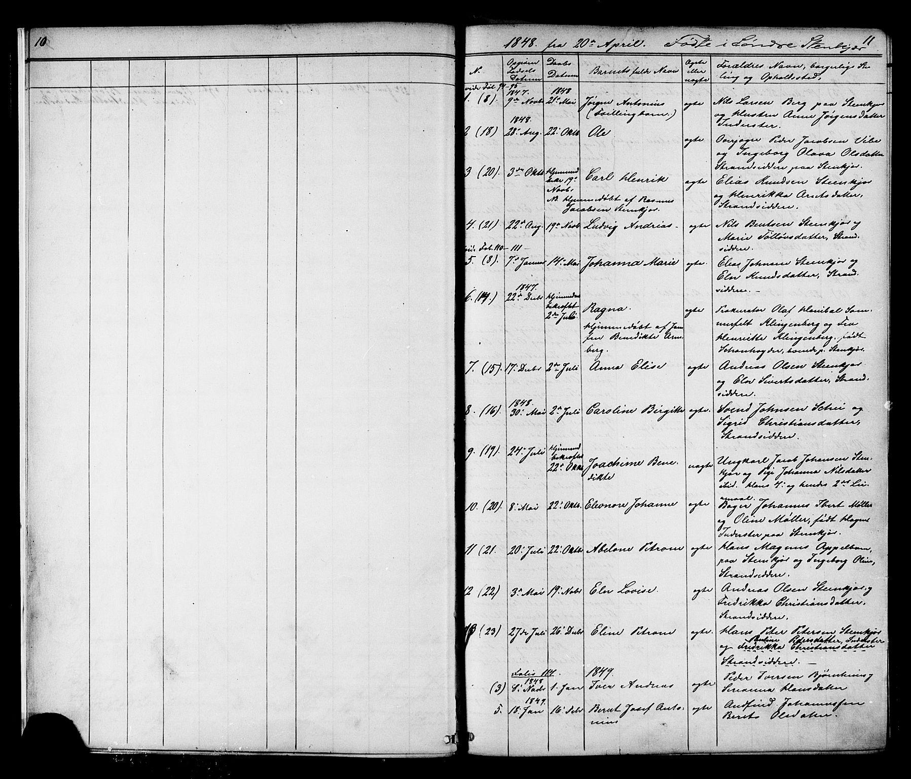 SAT, Ministerialprotokoller, klokkerbøker og fødselsregistre - Nord-Trøndelag, 739/L0367: Ministerialbok nr. 739A01 /1, 1838-1868, s. 10-11
