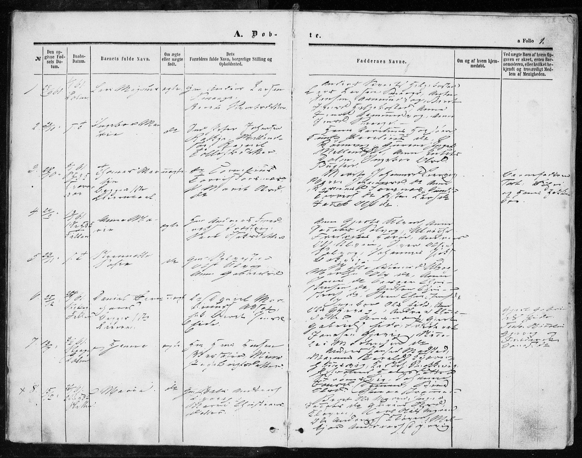SAT, Ministerialprotokoller, klokkerbøker og fødselsregistre - Sør-Trøndelag, 634/L0531: Ministerialbok nr. 634A07, 1861-1870, s. 1
