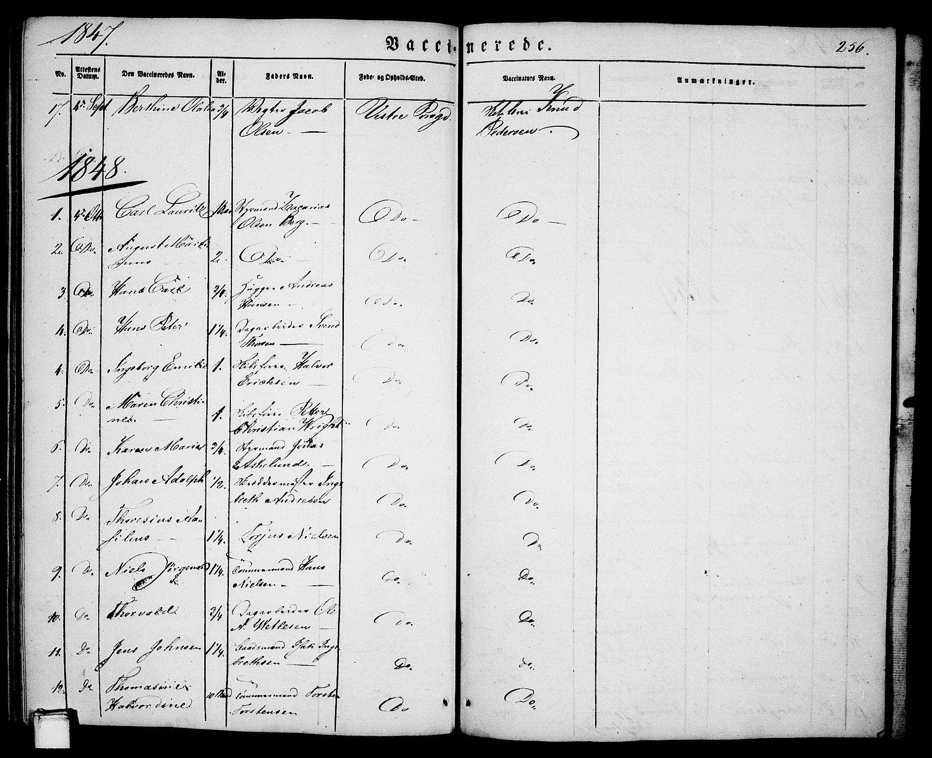 SAKO, Porsgrunn kirkebøker , G/Ga/L0002: Klokkerbok nr. I 2, 1847-1877, s. 256
