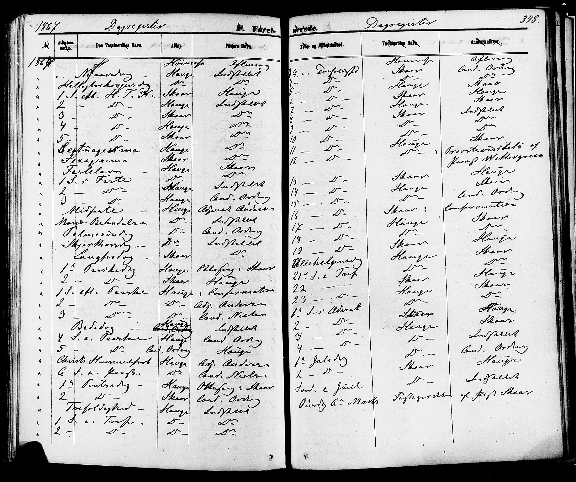 SAKO, Skien kirkebøker, F/Fa/L0008: Ministerialbok nr. 8, 1866-1877, s. 348