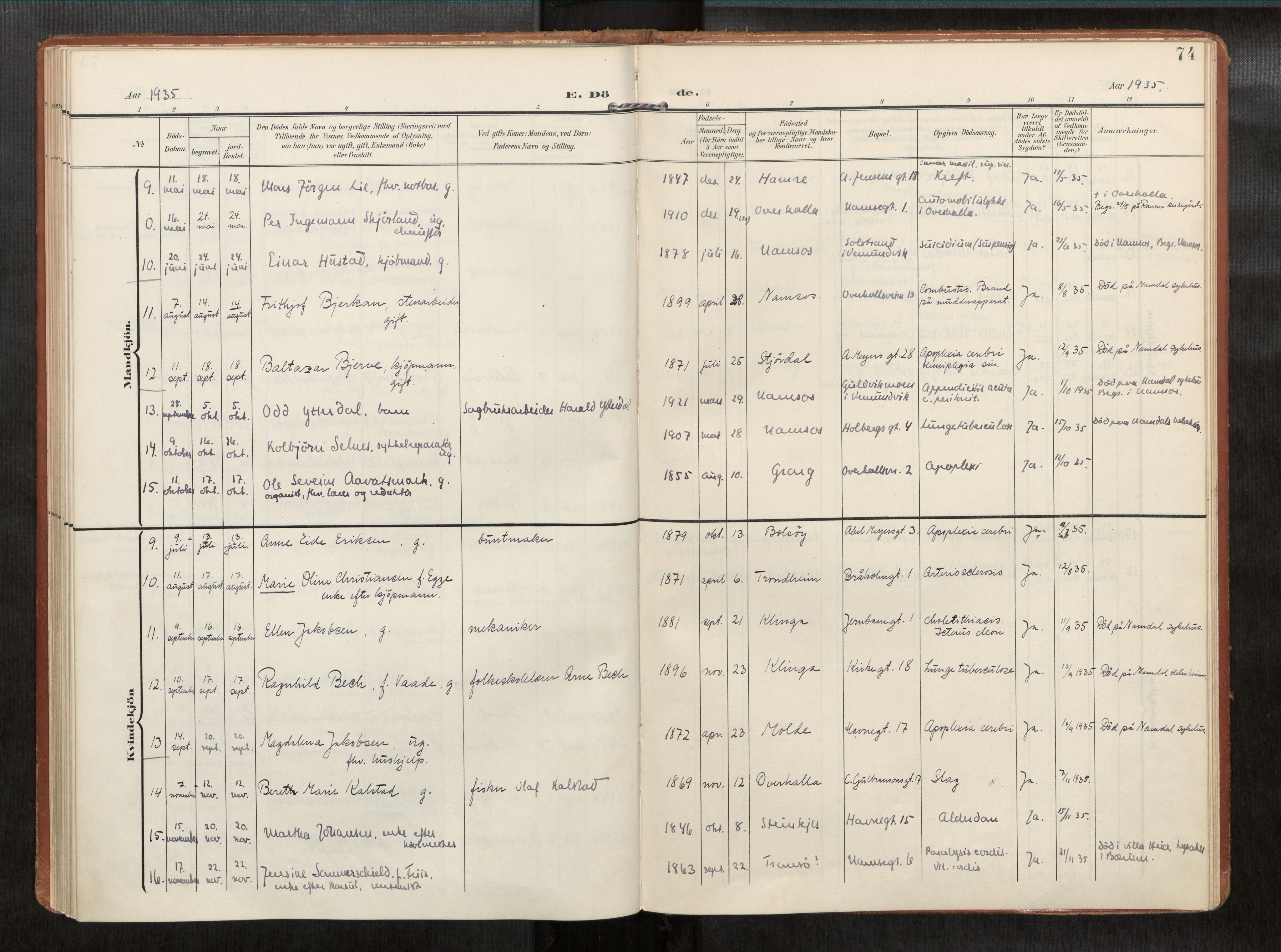 SAT, Ministerialprotokoller, klokkerbøker og fødselsregistre - Nord-Trøndelag, 768/L0579b: Ministerialbok nr. 768A15, 1908-1945, s. 74