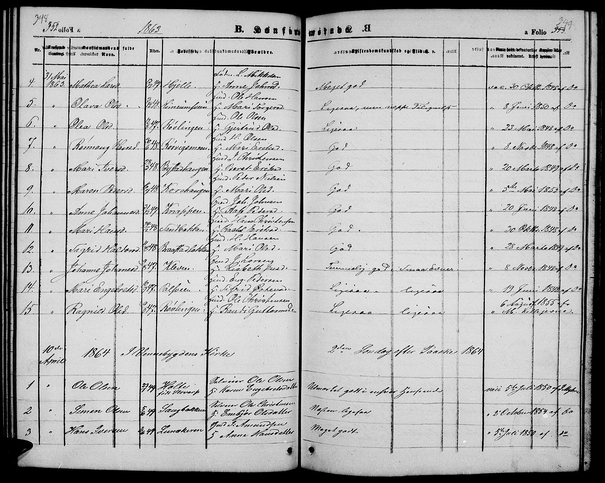 SAH, Ringebu prestekontor, Klokkerbok nr. 3, 1854-1866, s. 348-349