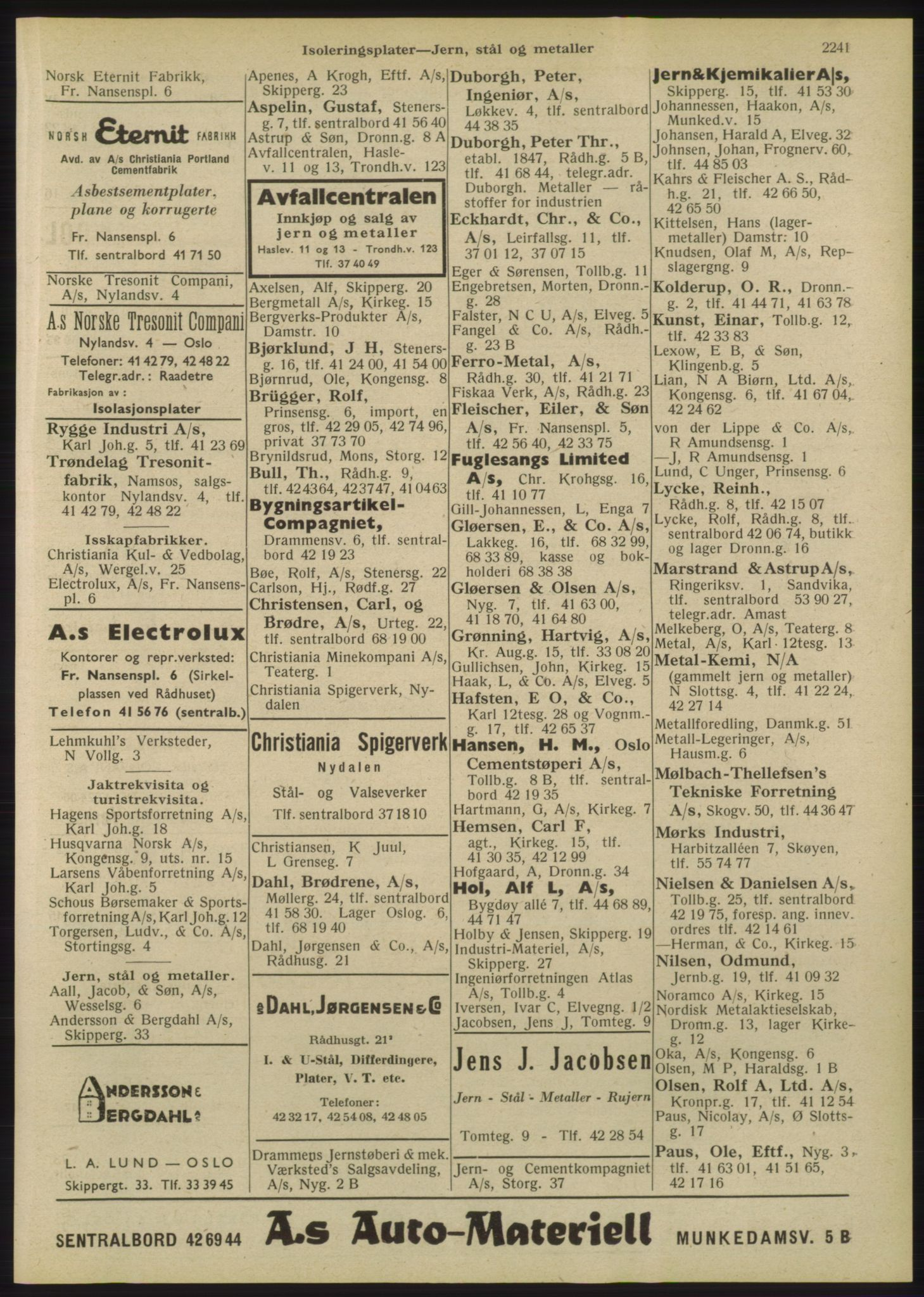 RA, Oslo adressebok (publikasjon)*, 1947, s. 2241