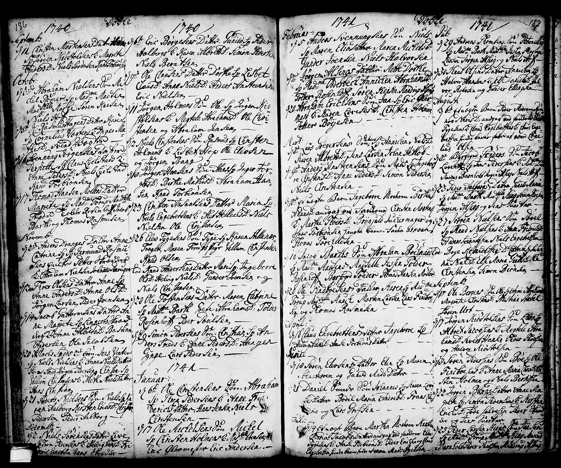 SAKO, Kragerø kirkebøker, F/Fa/L0001: Ministerialbok nr. 1, 1702-1766, s. 186-187