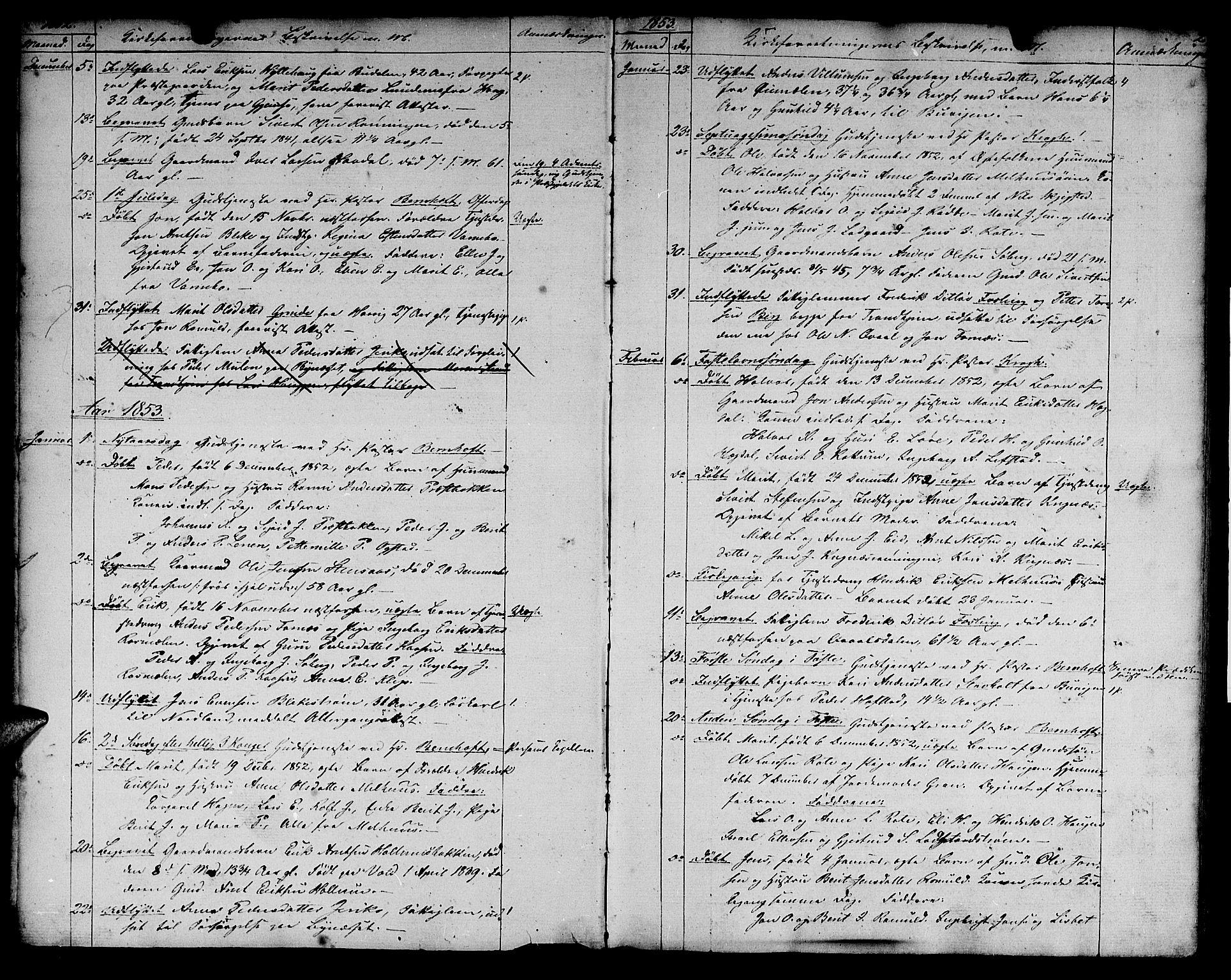 SAT, Ministerialprotokoller, klokkerbøker og fødselsregistre - Sør-Trøndelag, 691/L1093: Klokkerbok nr. 691C04, 1852-1879, s. 2