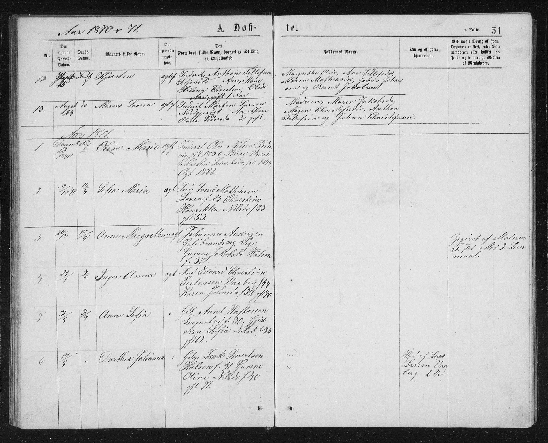SAT, Ministerialprotokoller, klokkerbøker og fødselsregistre - Sør-Trøndelag, 662/L0756: Klokkerbok nr. 662C01, 1869-1891, s. 51