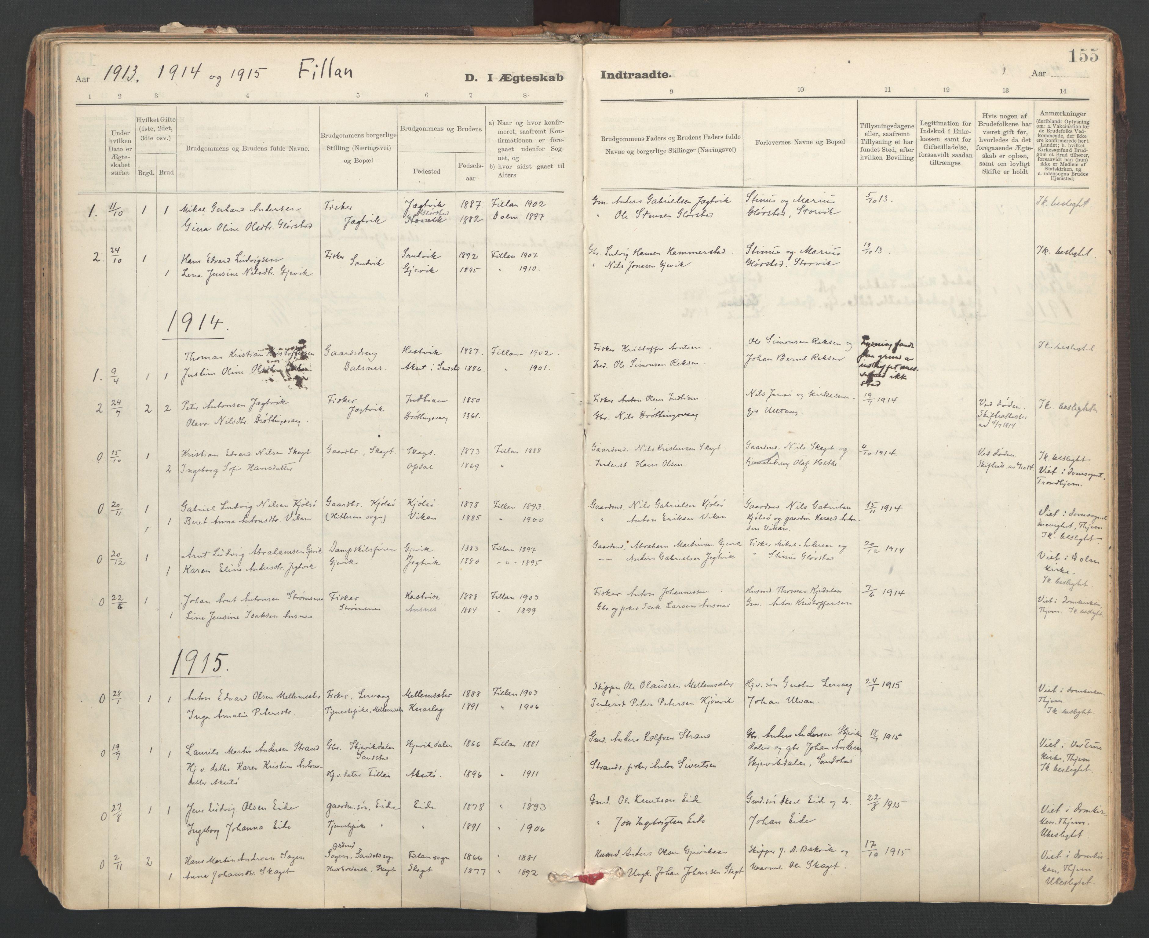 SAT, Ministerialprotokoller, klokkerbøker og fødselsregistre - Sør-Trøndelag, 637/L0559: Ministerialbok nr. 637A02, 1899-1923, s. 155