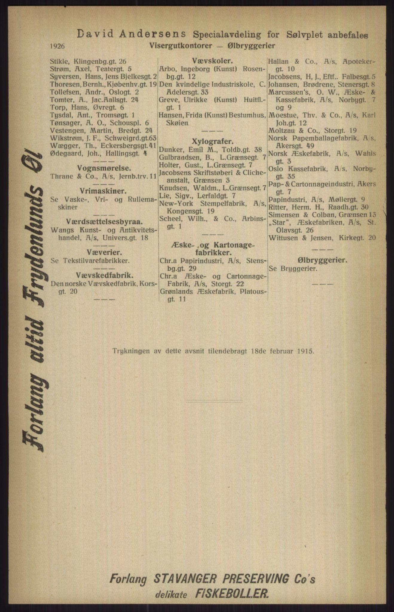 RA, Kristiania adressebok (publikasjon)*, 1915, s. 1926