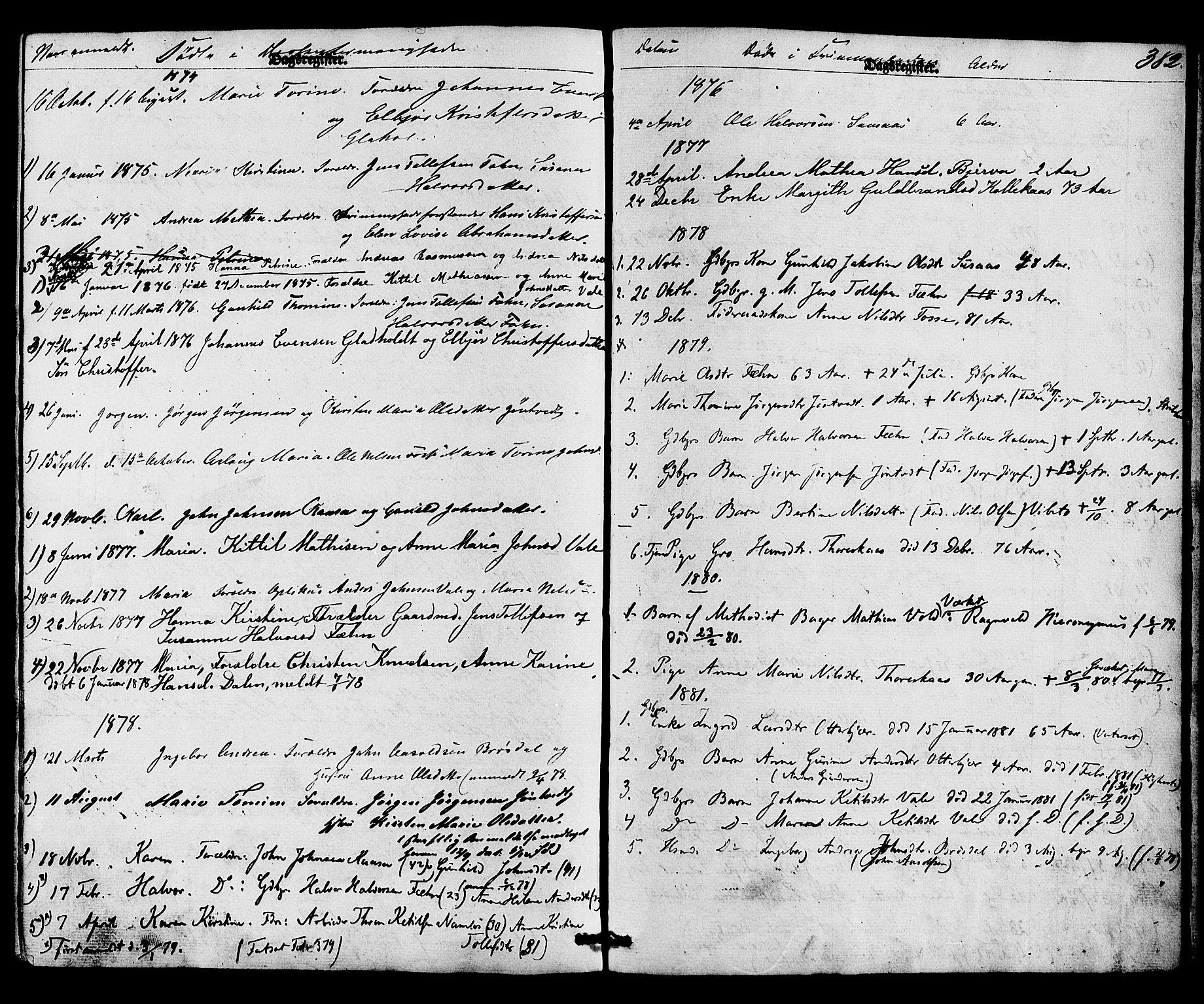 SAKO, Holla kirkebøker, F/Fa/L0007: Ministerialbok nr. 7, 1869-1881, s. 382