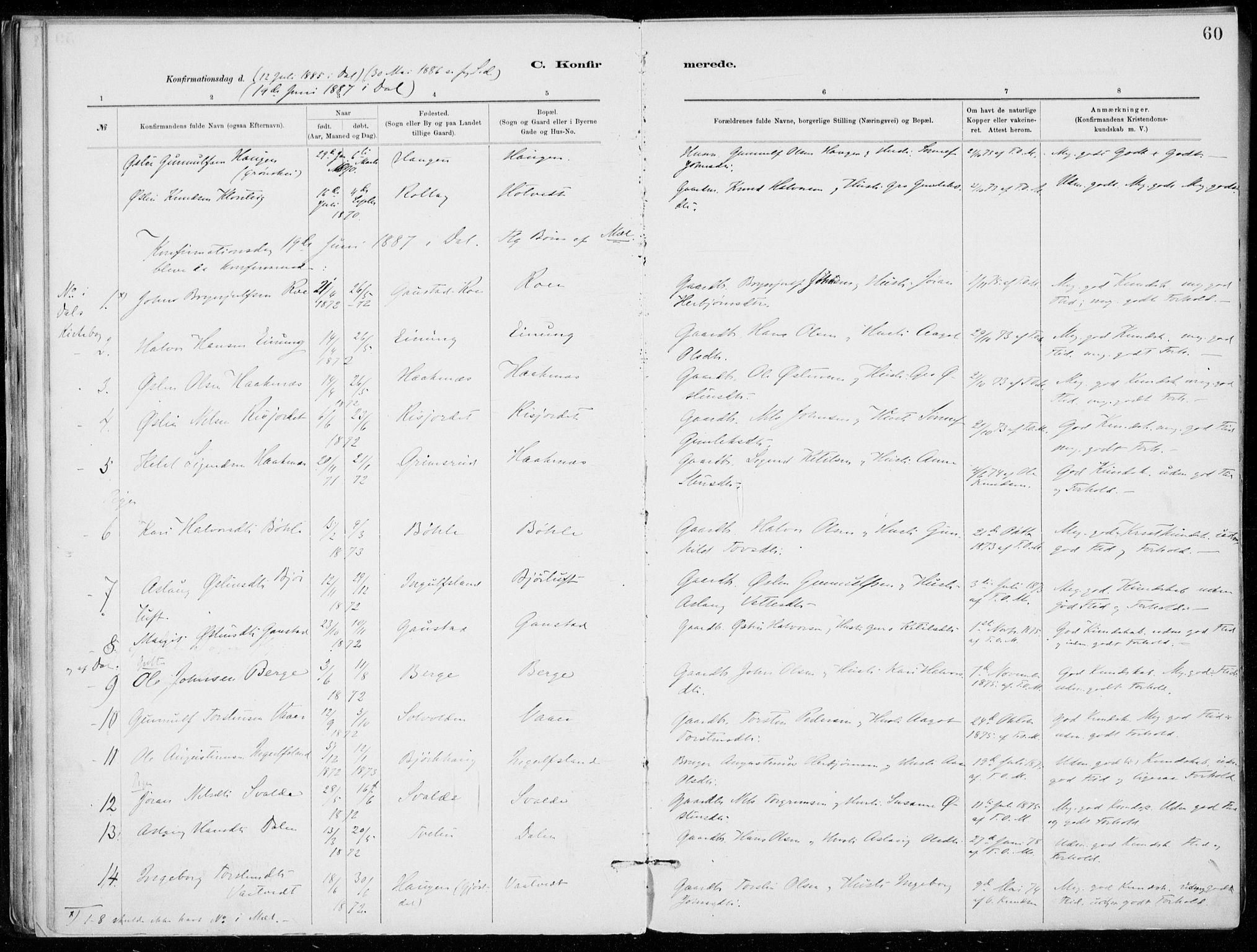SAKO, Tinn kirkebøker, F/Fb/L0002: Ministerialbok nr. II 2, 1878-1917, s. 60