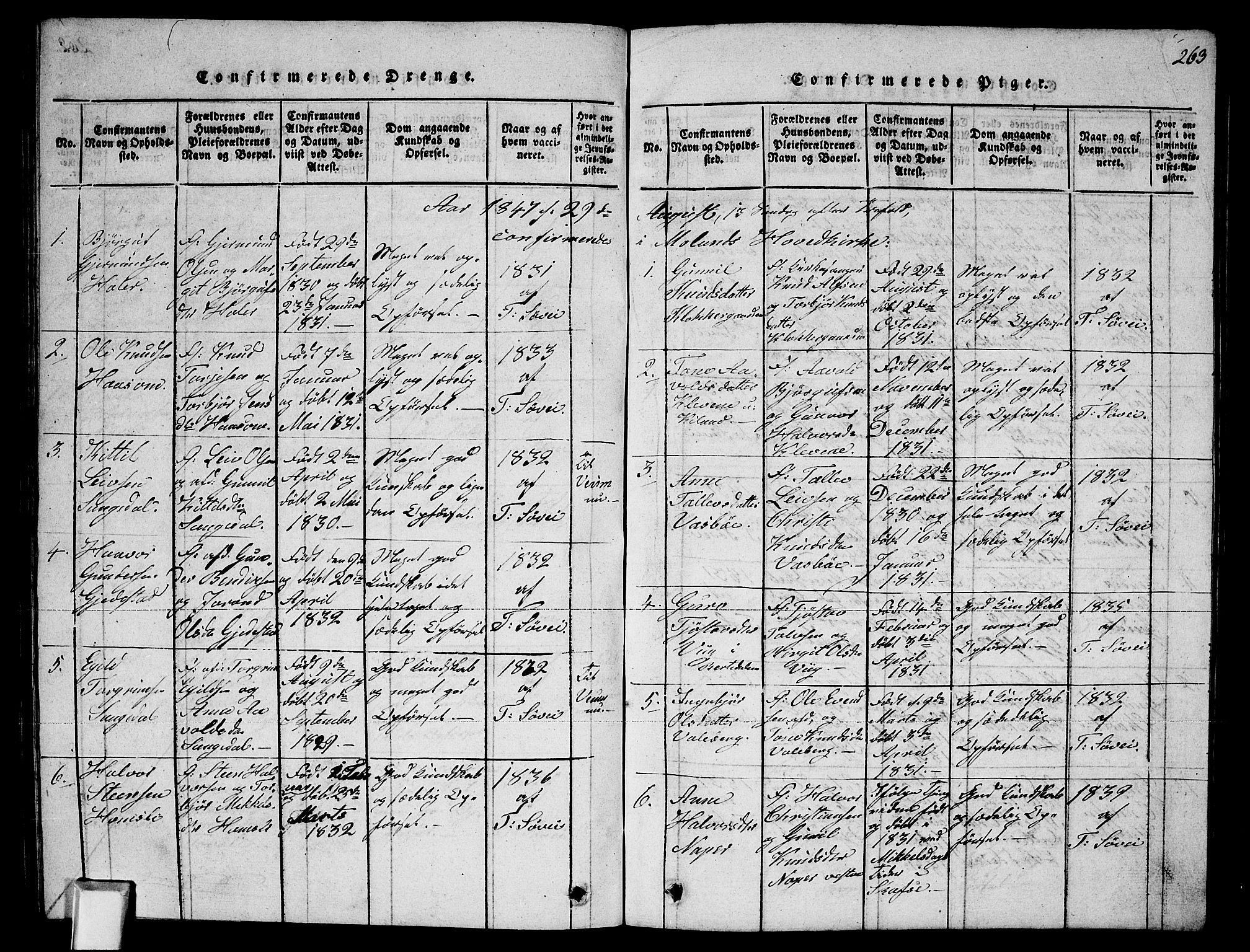 SAKO, Fyresdal kirkebøker, G/Ga/L0002: Klokkerbok nr. I 2, 1815-1857, s. 263