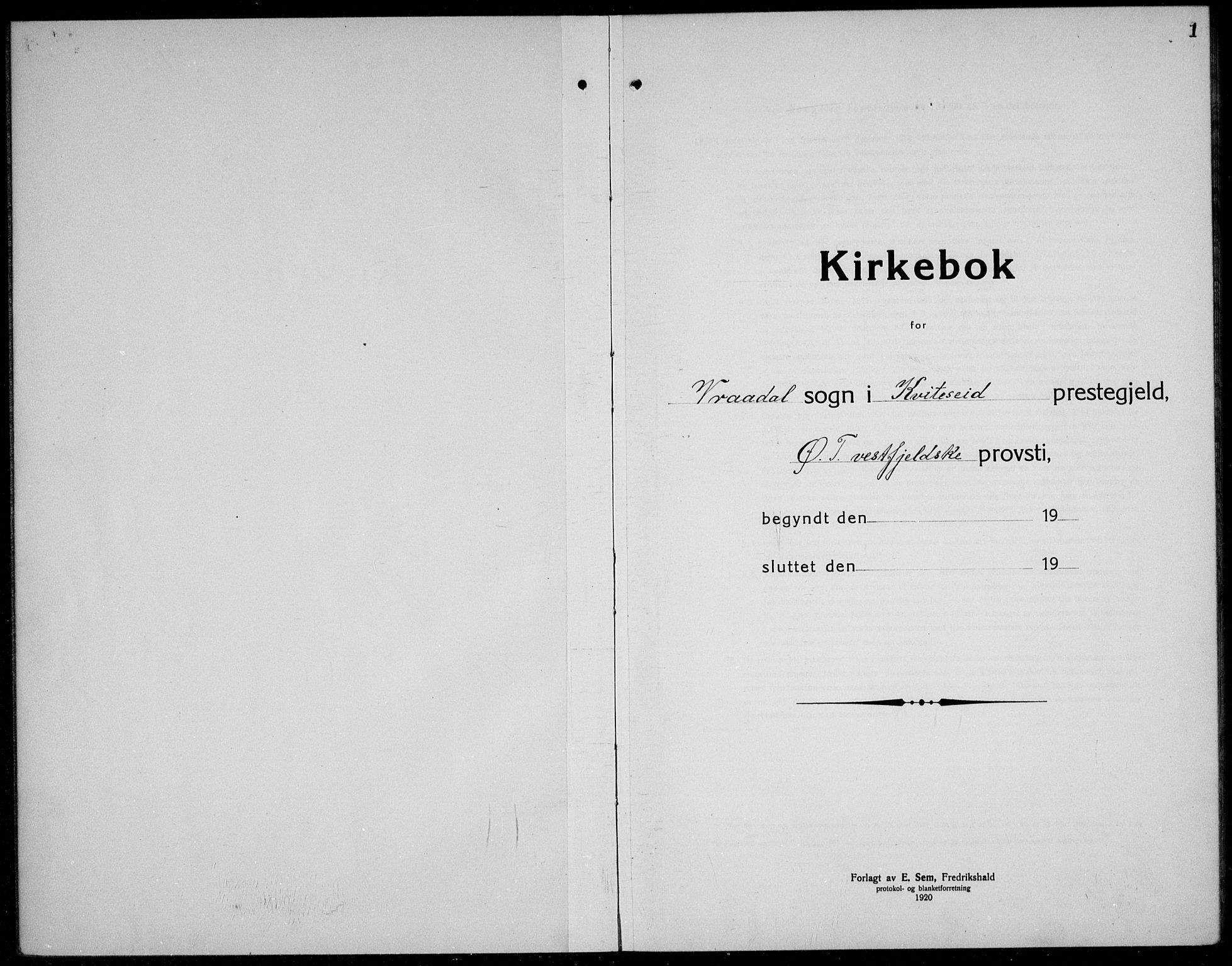 SAKO, Kviteseid kirkebøker, G/Gc/L0002: Klokkerbok nr. III 2, 1917-1937, s. 1