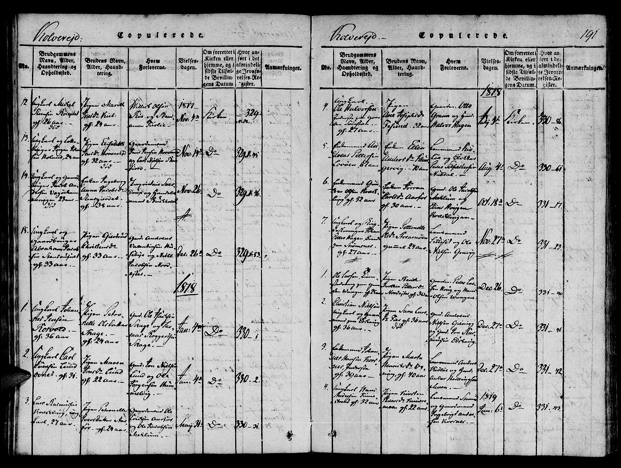 SAT, Ministerialprotokoller, klokkerbøker og fødselsregistre - Nord-Trøndelag, 780/L0636: Ministerialbok nr. 780A03 /1, 1815-1830, s. 191