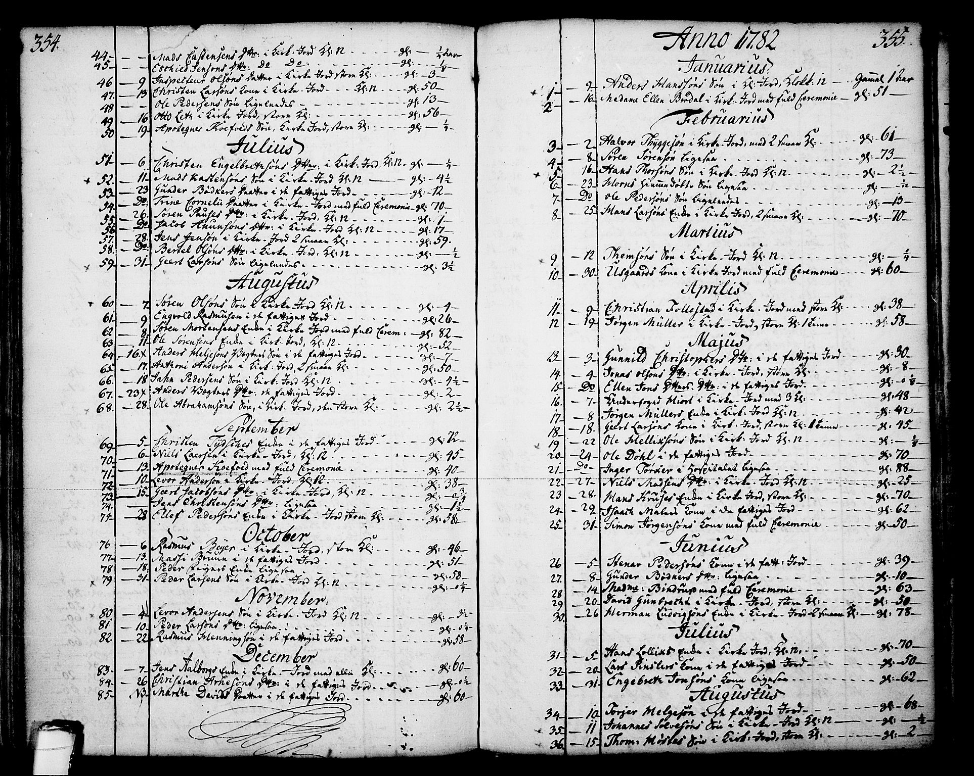 SAKO, Skien kirkebøker, F/Fa/L0003: Ministerialbok nr. 3, 1755-1791, s. 354-355
