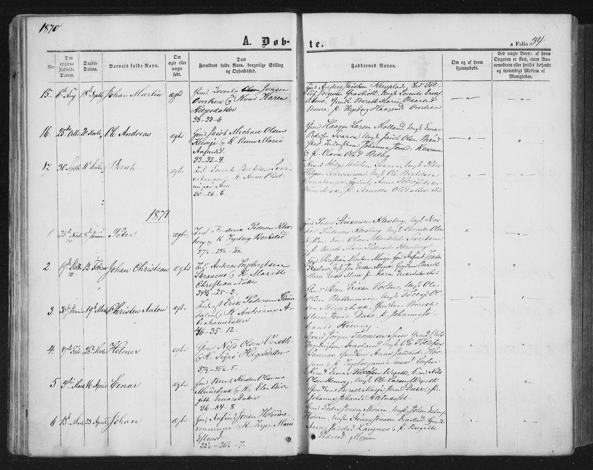 SAT, Ministerialprotokoller, klokkerbøker og fødselsregistre - Nord-Trøndelag, 749/L0472: Ministerialbok nr. 749A06, 1857-1873, s. 34