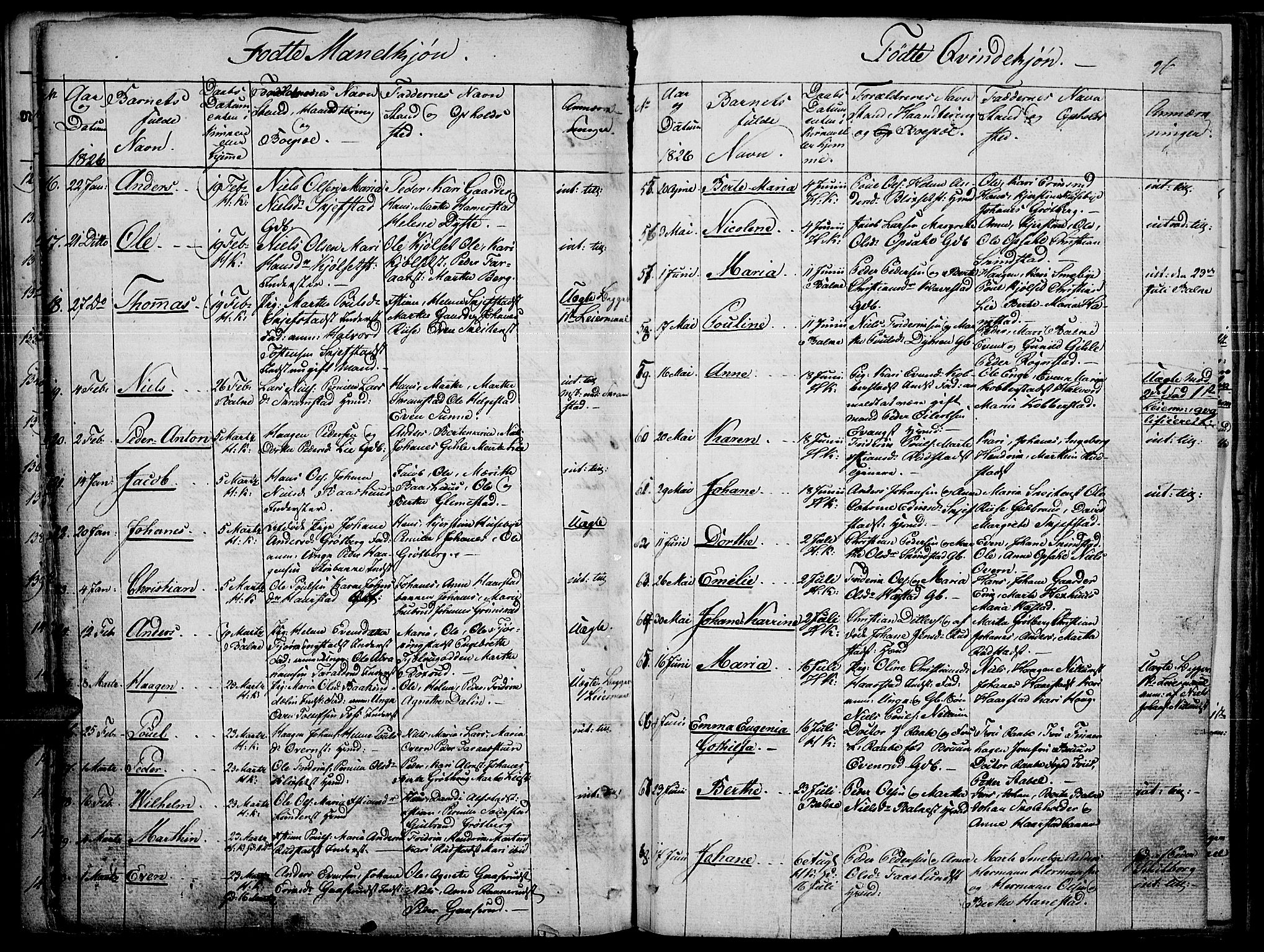 SAH, Toten prestekontor, Ministerialbok nr. 10, 1820-1828, s. 96